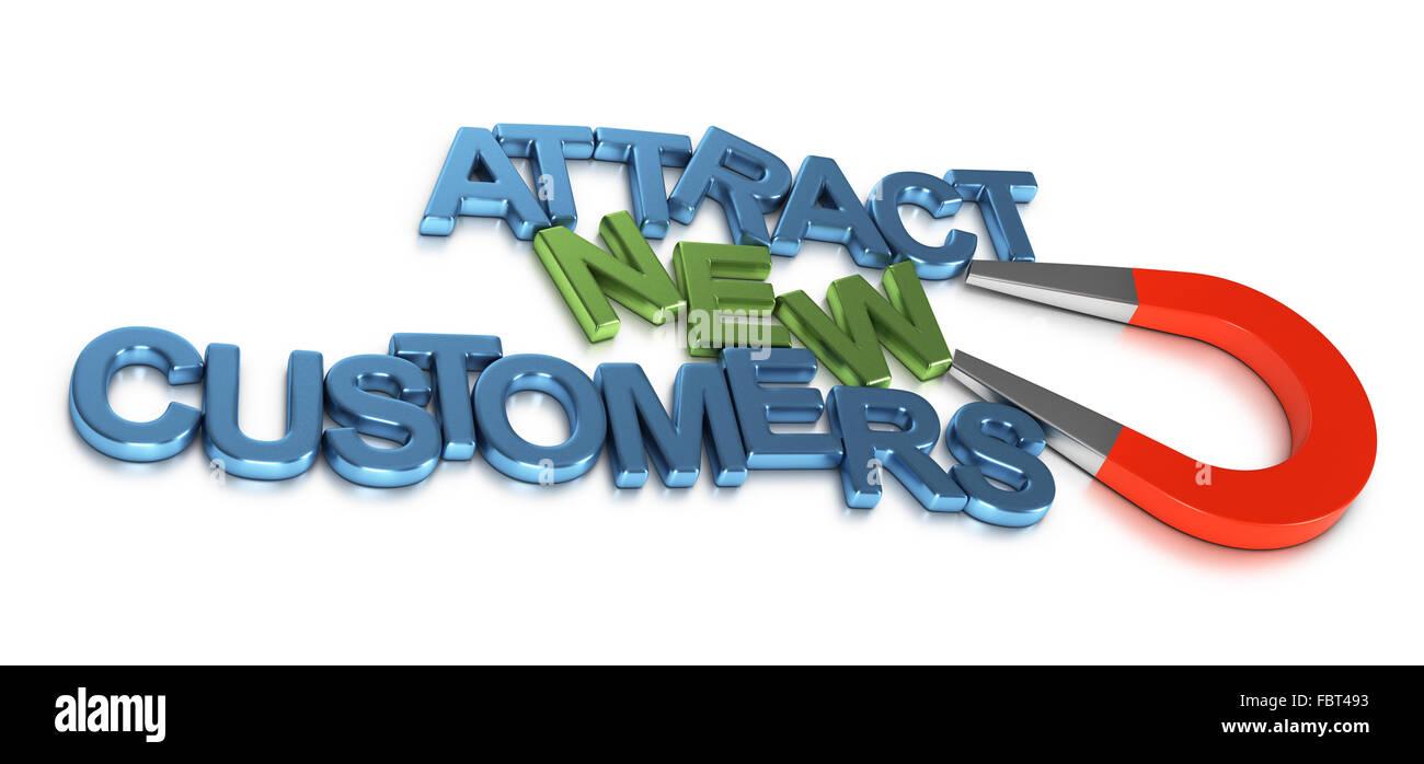 Imán atrayendo herradura metal letras que forman el texto para atraer nuevos clientes. 3D rendering imagen Imagen De Stock
