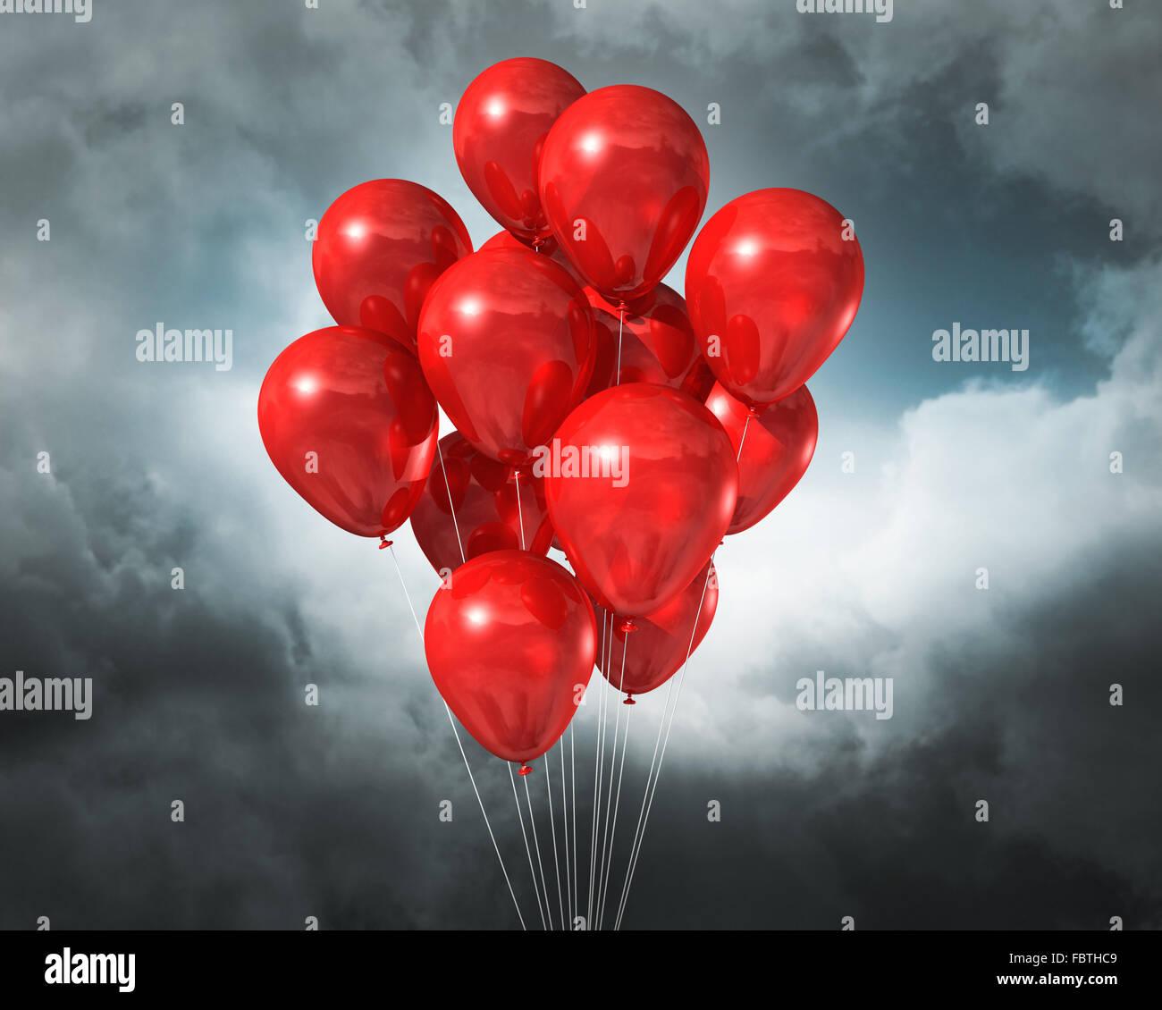 Globos rojos en un nublado cielo espectacular Imagen De Stock