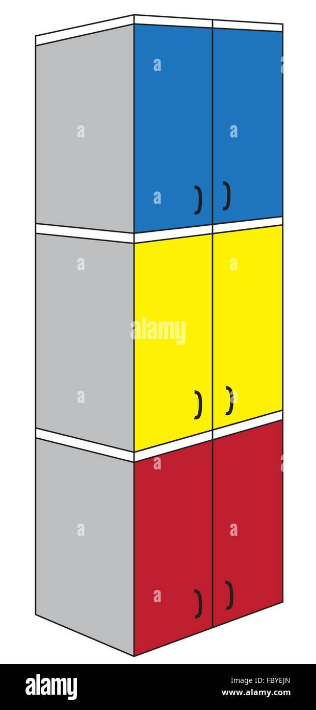Armario triple tricolor Imagen De Stock