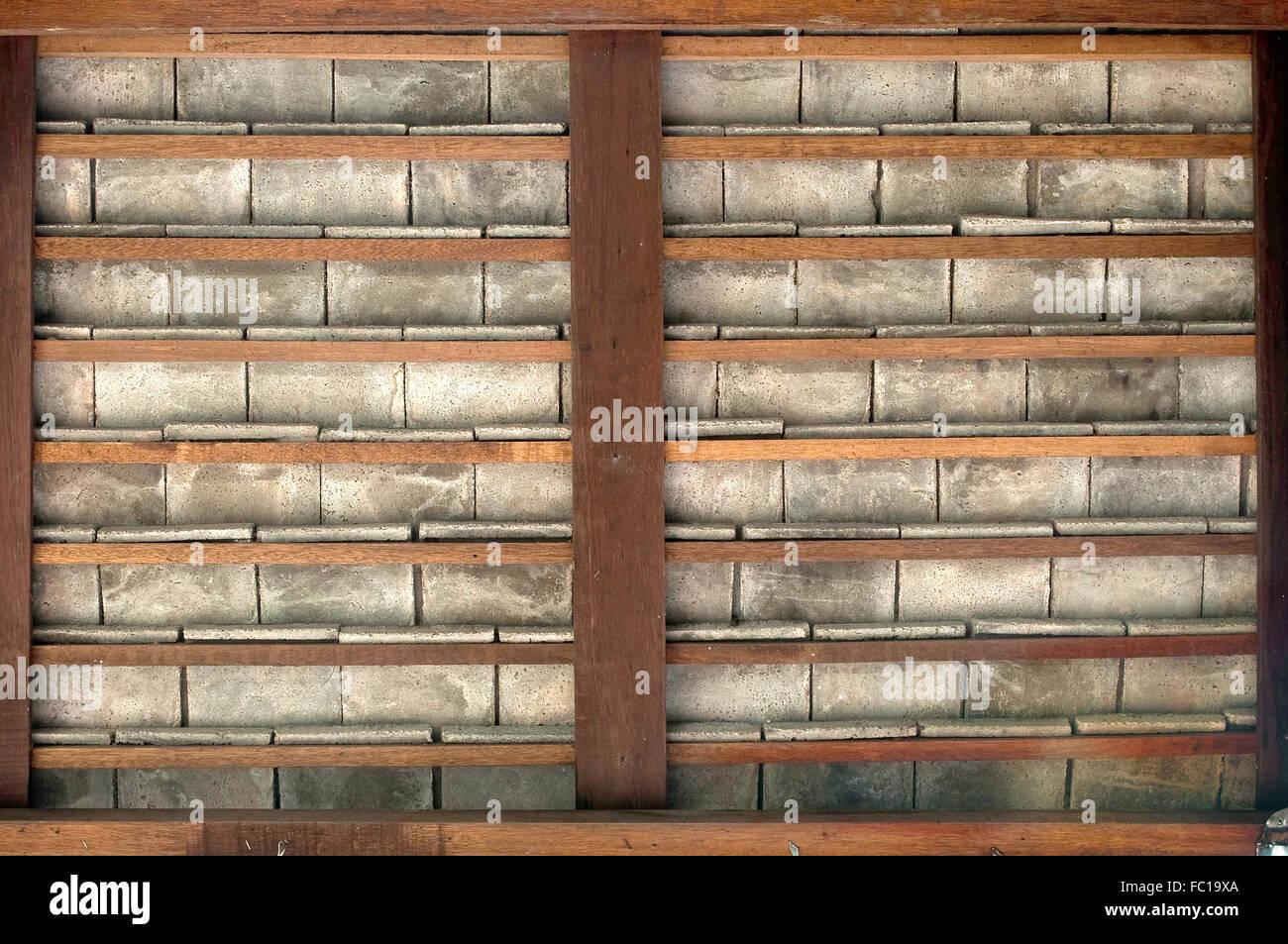 Marco de madera y baldosas de cemento diseño de fondo Foto & Imagen ...