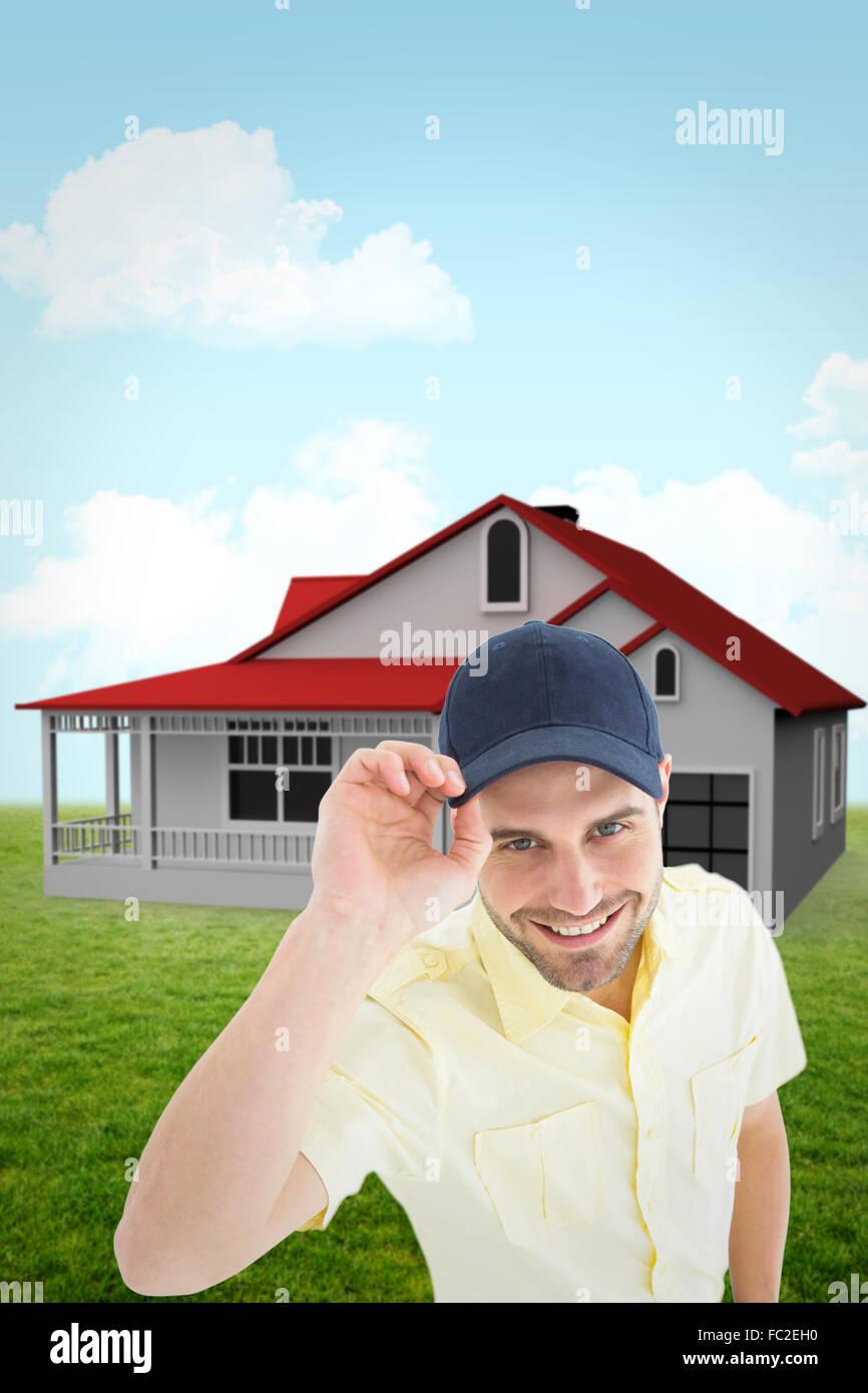 540f6146b098d Imagen compuesta de entrega apuesto hombre que llevaba una gorra de béisbol  Imagen De Stock