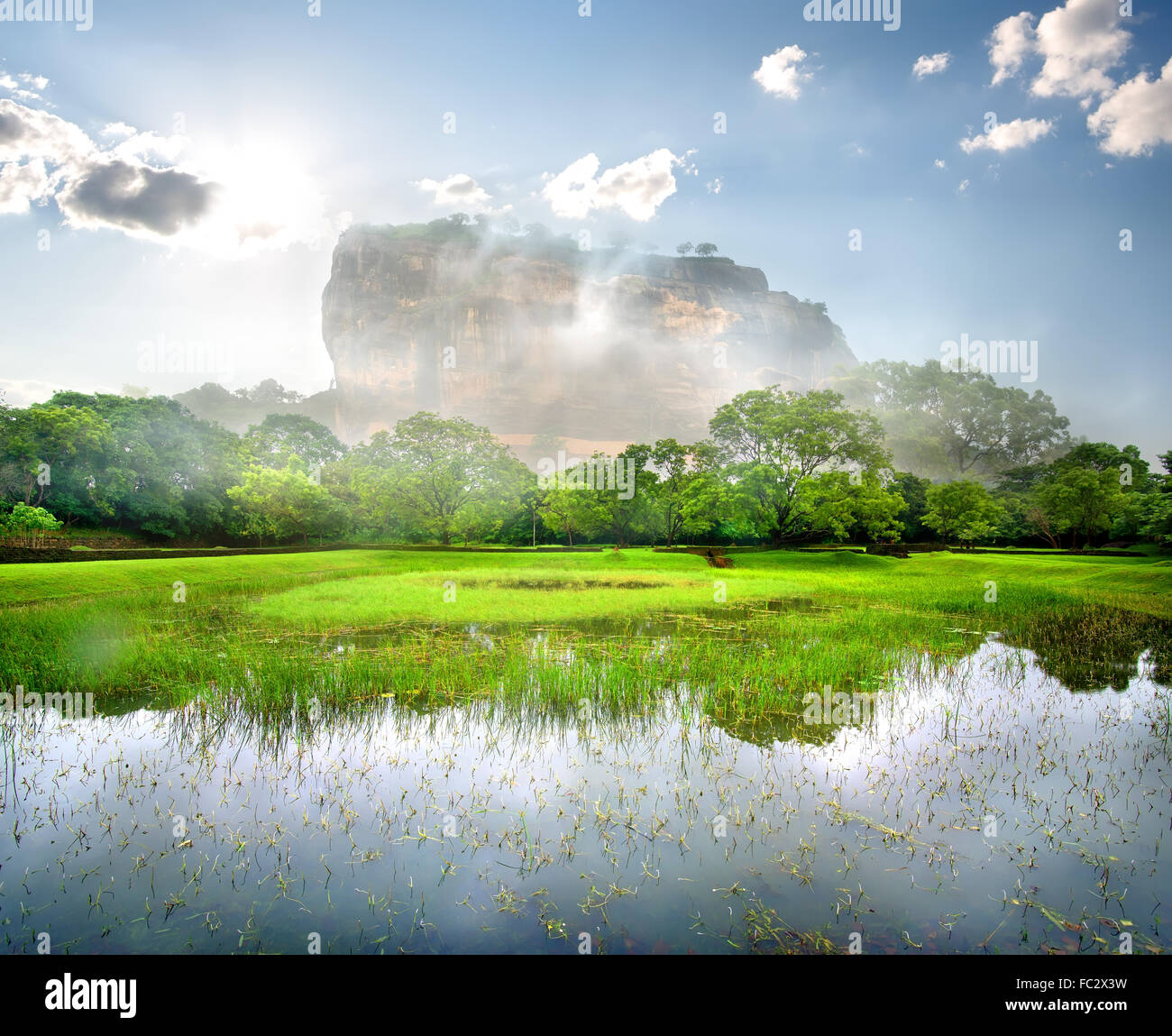 River en el jardín cerca de la montaña de Sigiriya Imagen De Stock
