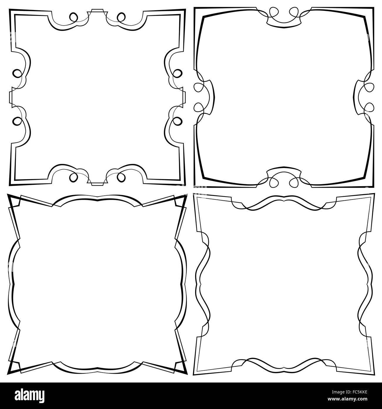 Conjunto de cuatro vectores hermoso marco Foto & Imagen De Stock ...
