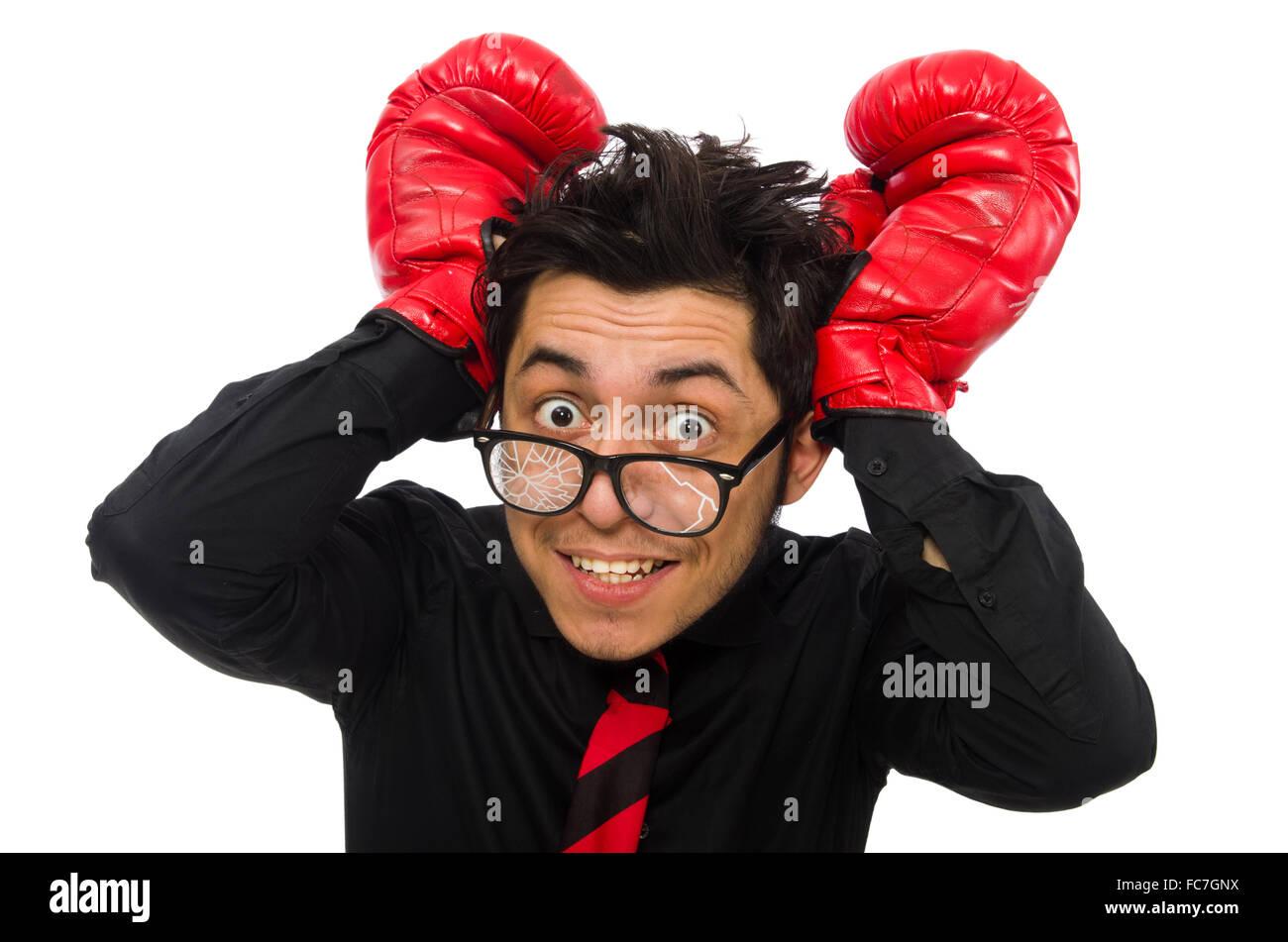 El hombre empresario con guantes de boxeo rojos Imagen De Stock