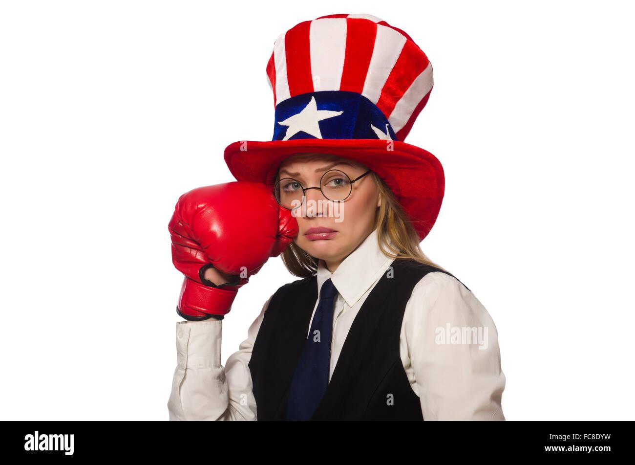 Mujer con guantes de boxeo aislado en blanco Imagen De Stock