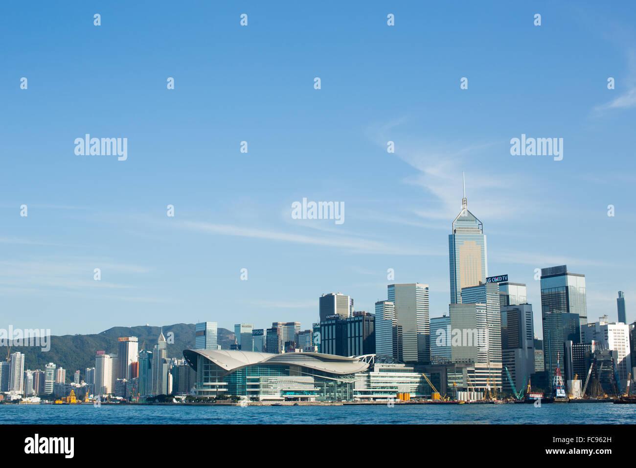Perfil de Hong Kong tomada de Kowloon, Hong Kong, China, Asia Imagen De Stock