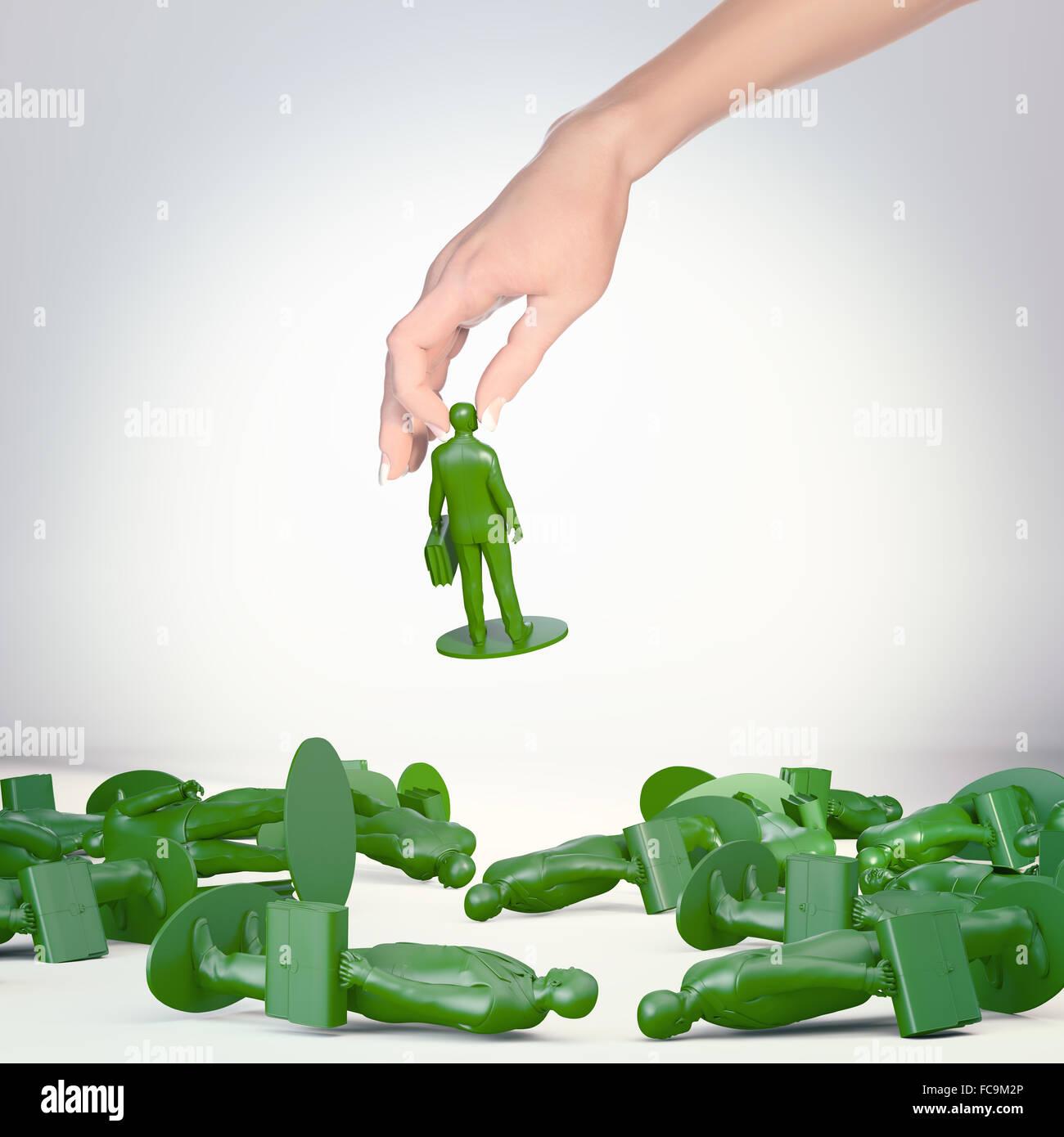 Empresario de juguete figuras - el éxito y el concepto de portadora Imagen De Stock