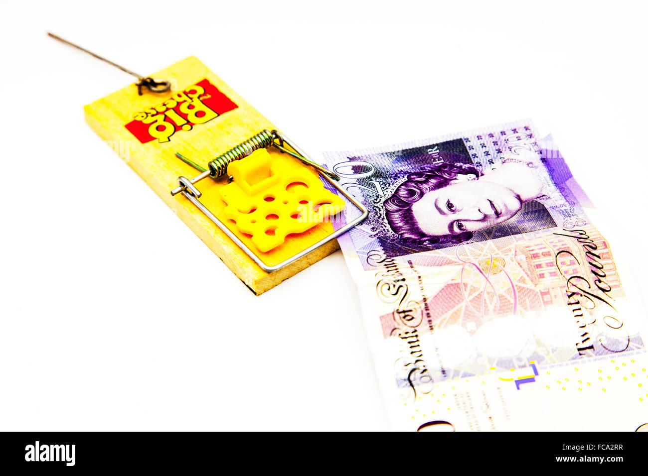 Dinero en la trampa de ratón de viaje prestamista catch deudas deuda problema de flujo de efectivo el recorte Imagen De Stock