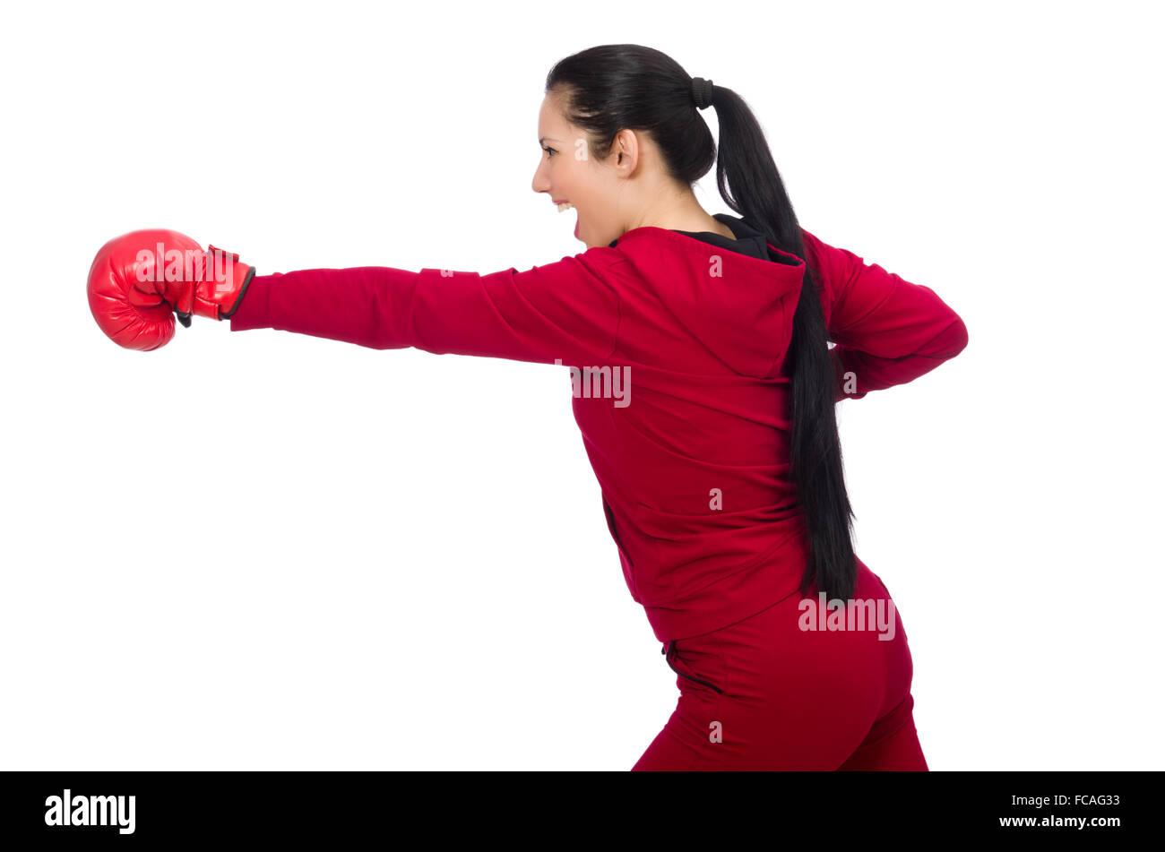 La mujer boxer aislado en el blanco Imagen De Stock