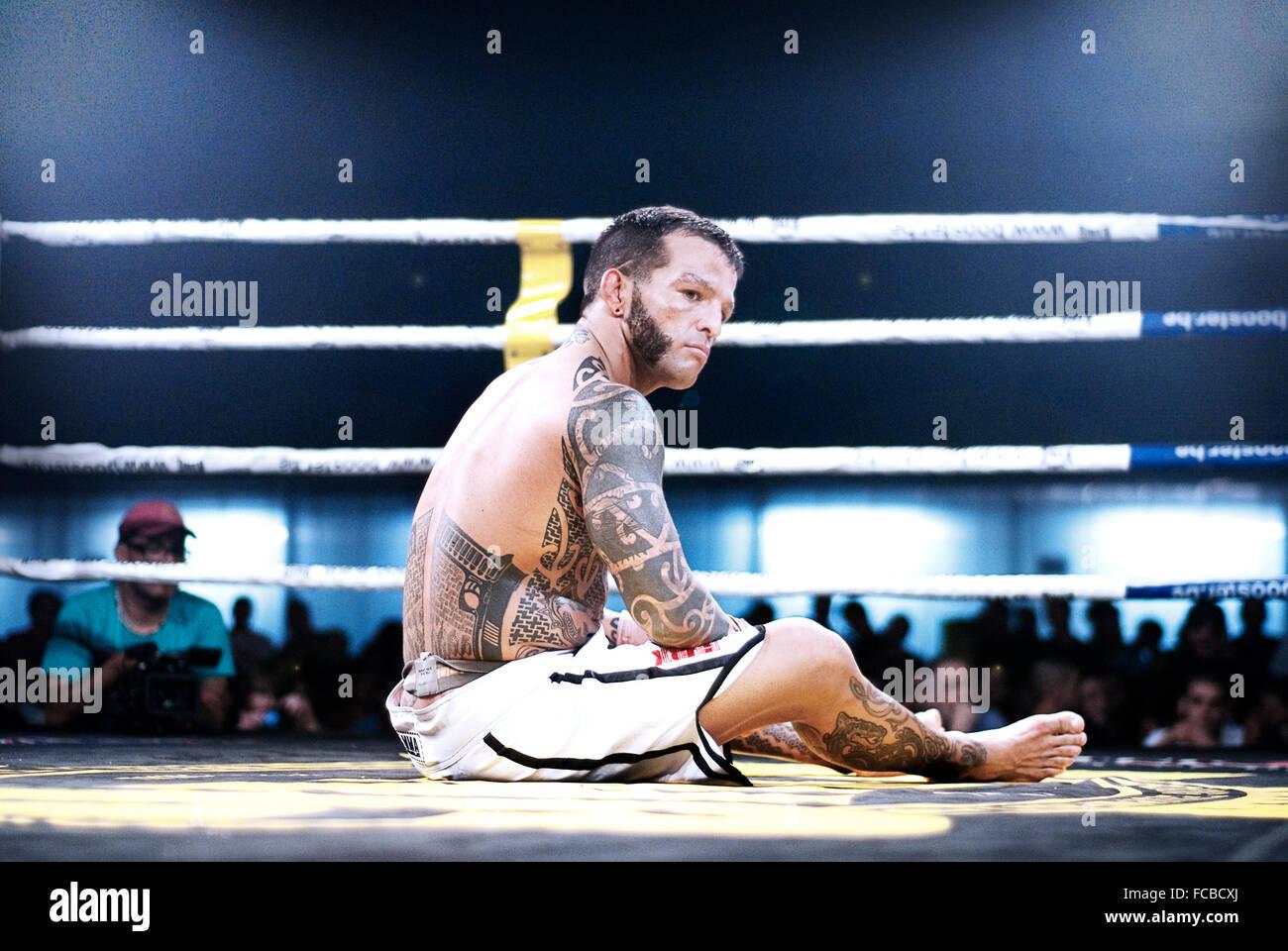 MMA fighter sobre la alfombrilla después de sufrir una derrota en combate Imagen De Stock