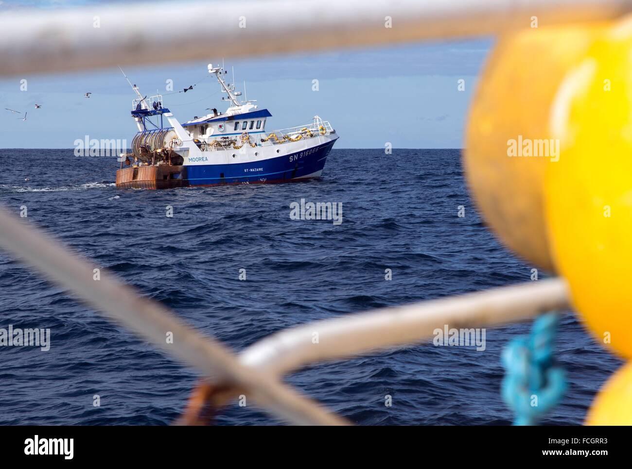 """El barco MOOREA DESDE SAINT NAZAIRE, pescar en el mar en el arrastrero de Camarón """"Quentin-GREGOIRE' frente a la costa de Sables d'Olonne (85) Foto de stock"""
