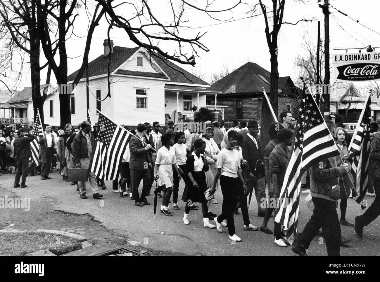 Selma marzo,1965. Los participantes en las marchas Mongomery a Selma, Alabama en 1965, EE.UU. Imagen De Stock