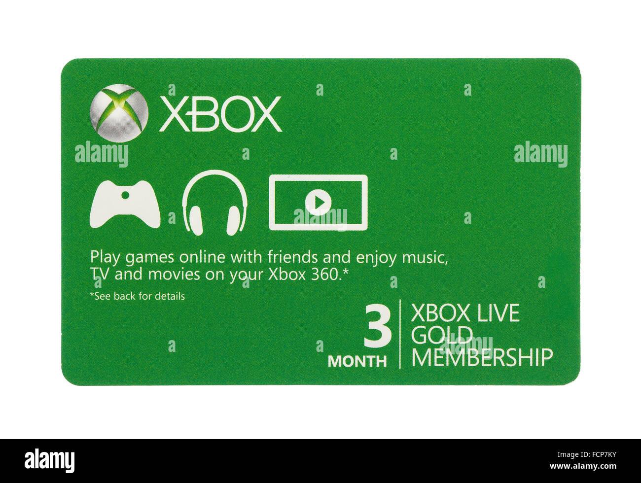 Microsoft Xbox Live Gold sobre un fondo blanco. Imagen De Stock