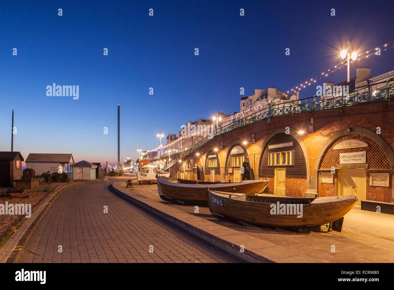 Noche de invierno en el Museo de Pesca en Brighton Seafront, East Sussex, Inglaterra. Imagen De Stock