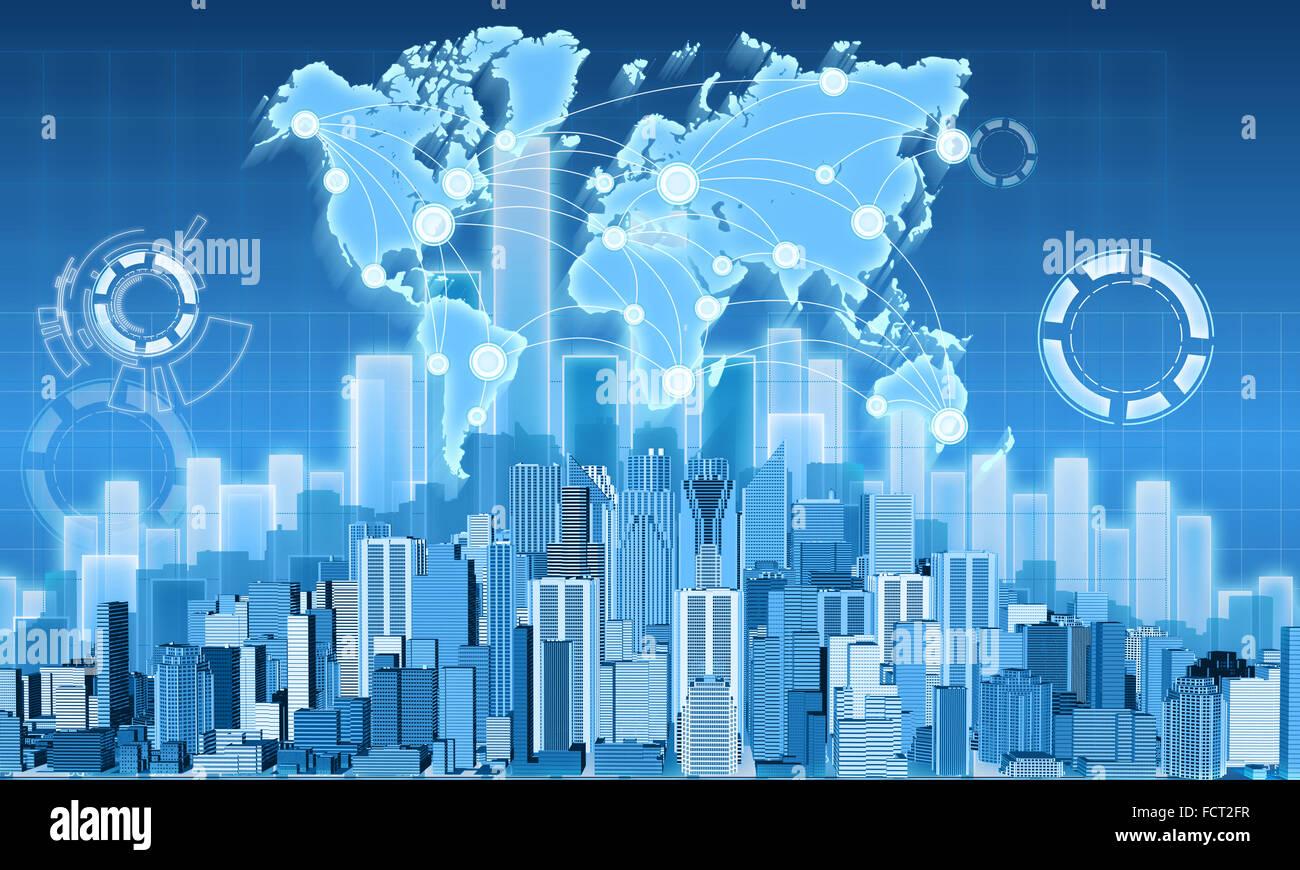 Ciudad de economía y el gráfico de beneficios Imagen De Stock