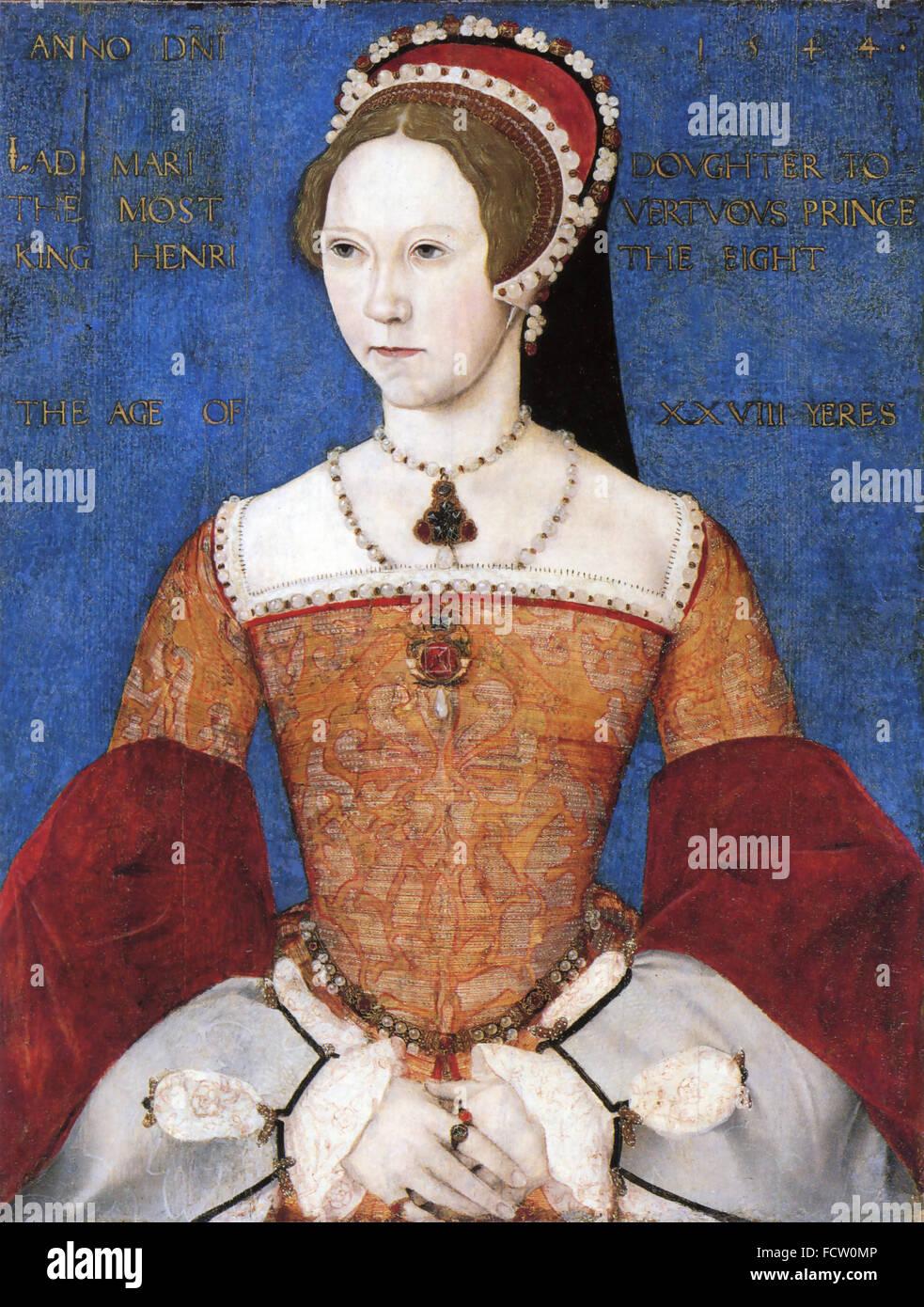María I de Inglaterra e Irlanda (1516-1558) en una pintura de 1544. Imagen De Stock