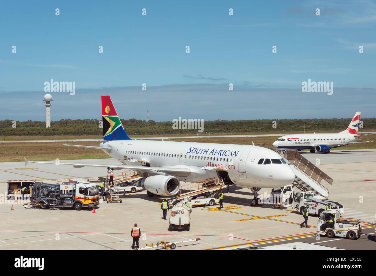South African Airways Airbus A320, el aeropuerto internacional de Port Elizabeth, Port Elizabeth, Eastern Cape, Imagen De Stock