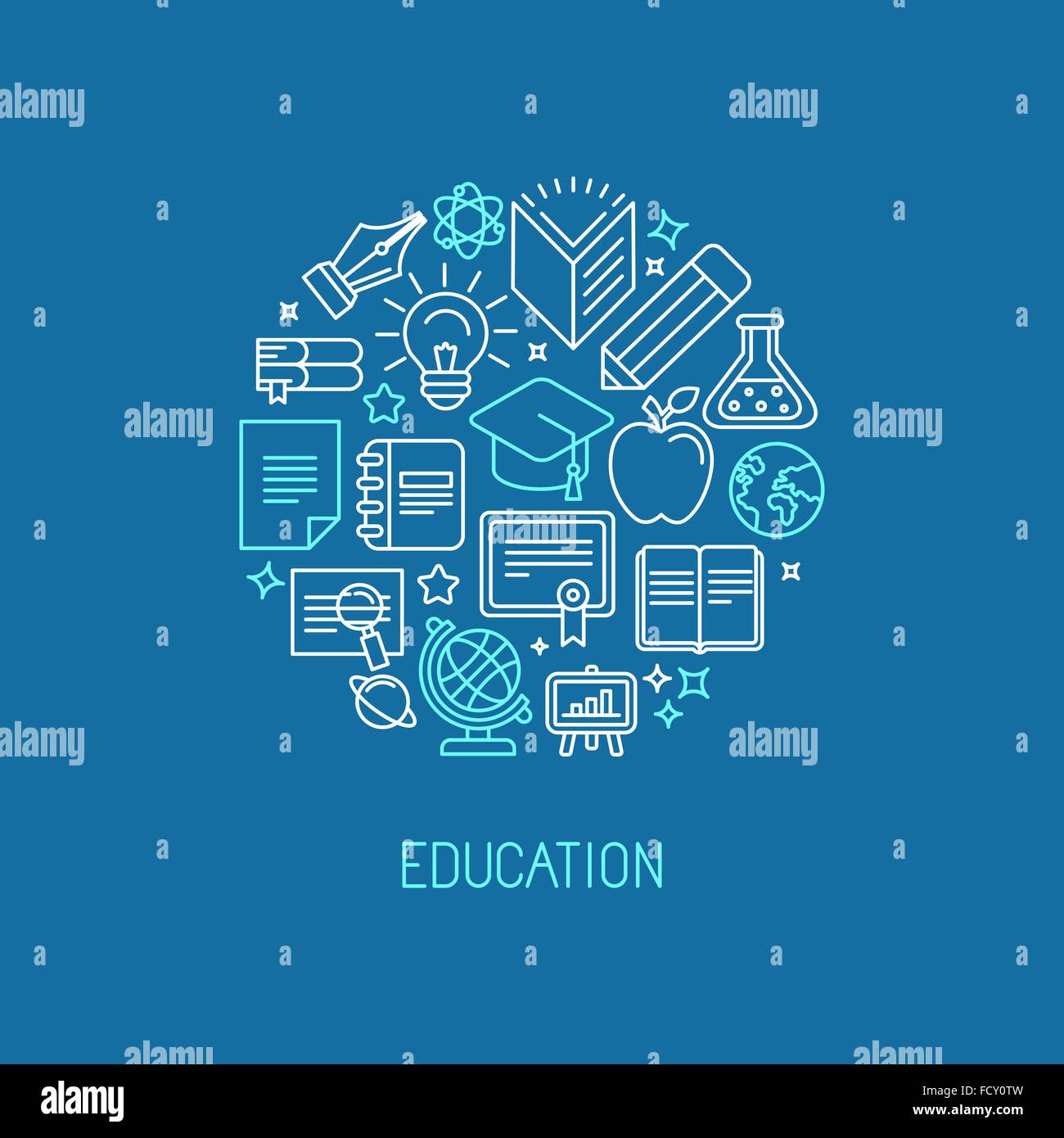 Plantilla de diseño de logotipo lineal - concepto de universidad y de educación en línea en el moderno Imagen De Stock