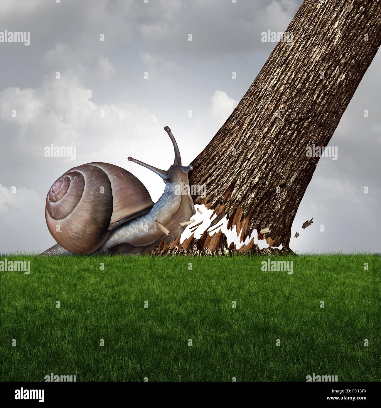 Concepto de fuerza como un caracol empujando hacia abajo un gran tronco de árbol como metáfora de un negocio Imagen De Stock