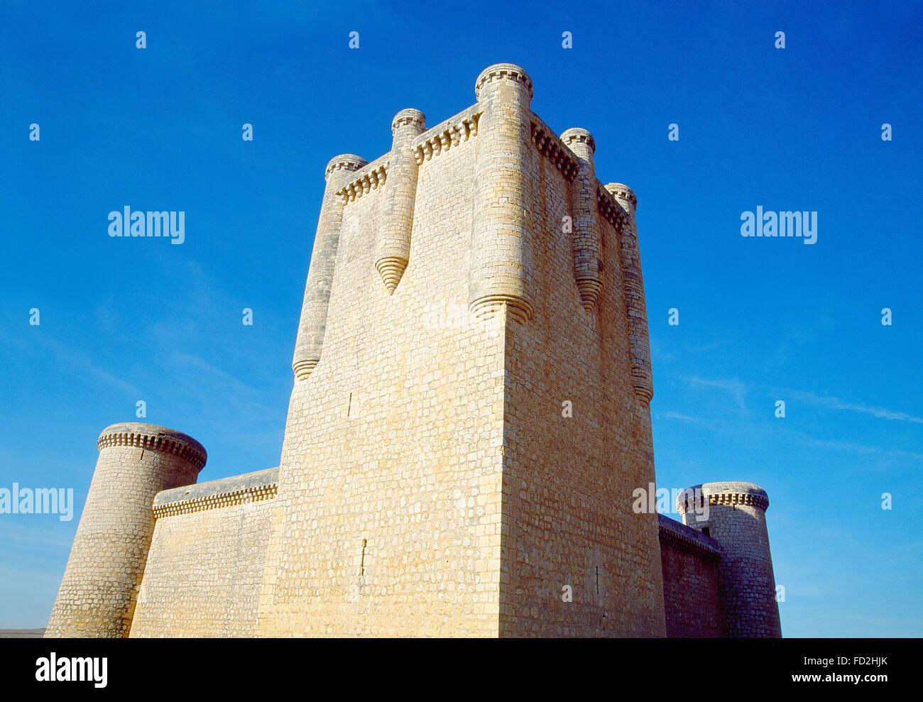 Castillo. Torrelobaton, provincia de Valladolid, Castilla y León, España. Foto de stock