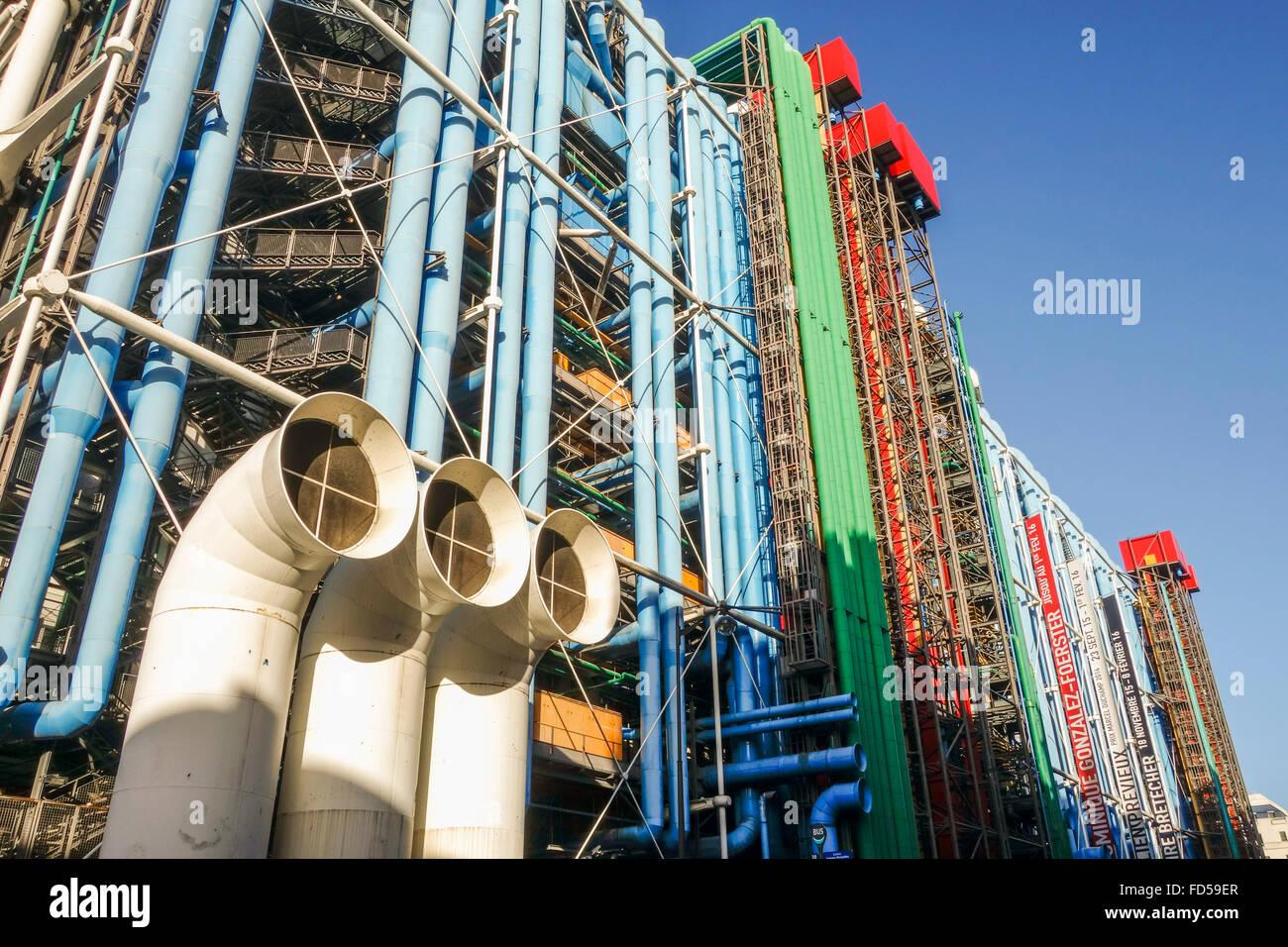 El Centro Georges Pompidou, Beaubourg, el museo de arte moderno de París, Francia. Imagen De Stock