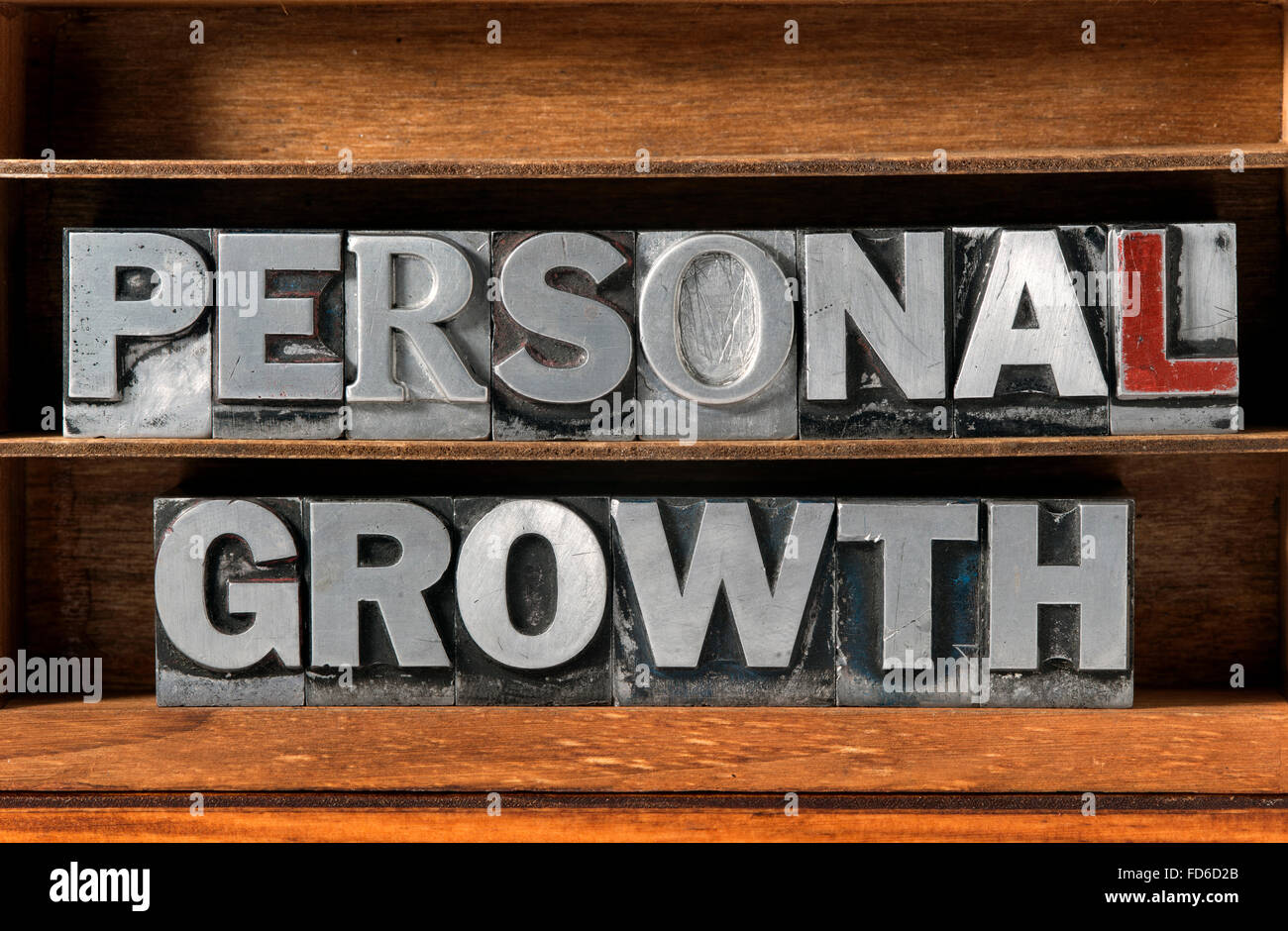 Crecimiento personal frase hecha de tipografía metálica en bandeja de madera Imagen De Stock