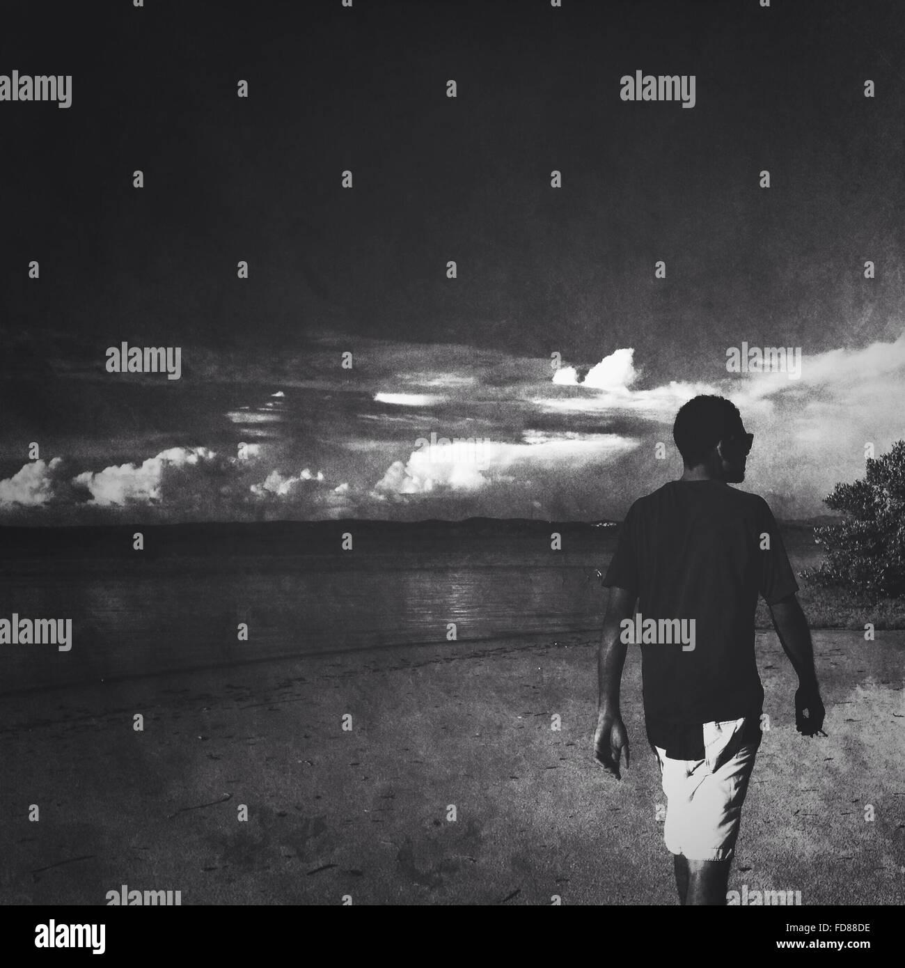 Vista trasera del joven caminando en la playa Imagen De Stock