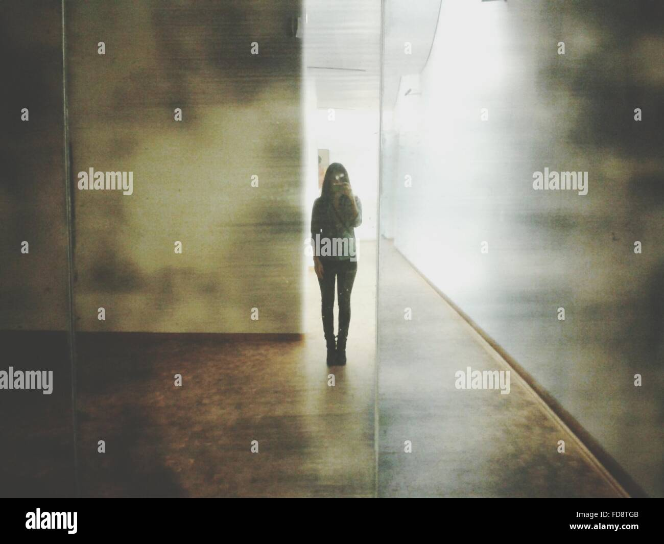 La longitud completa de la mujer fotografiando Imagen De Stock