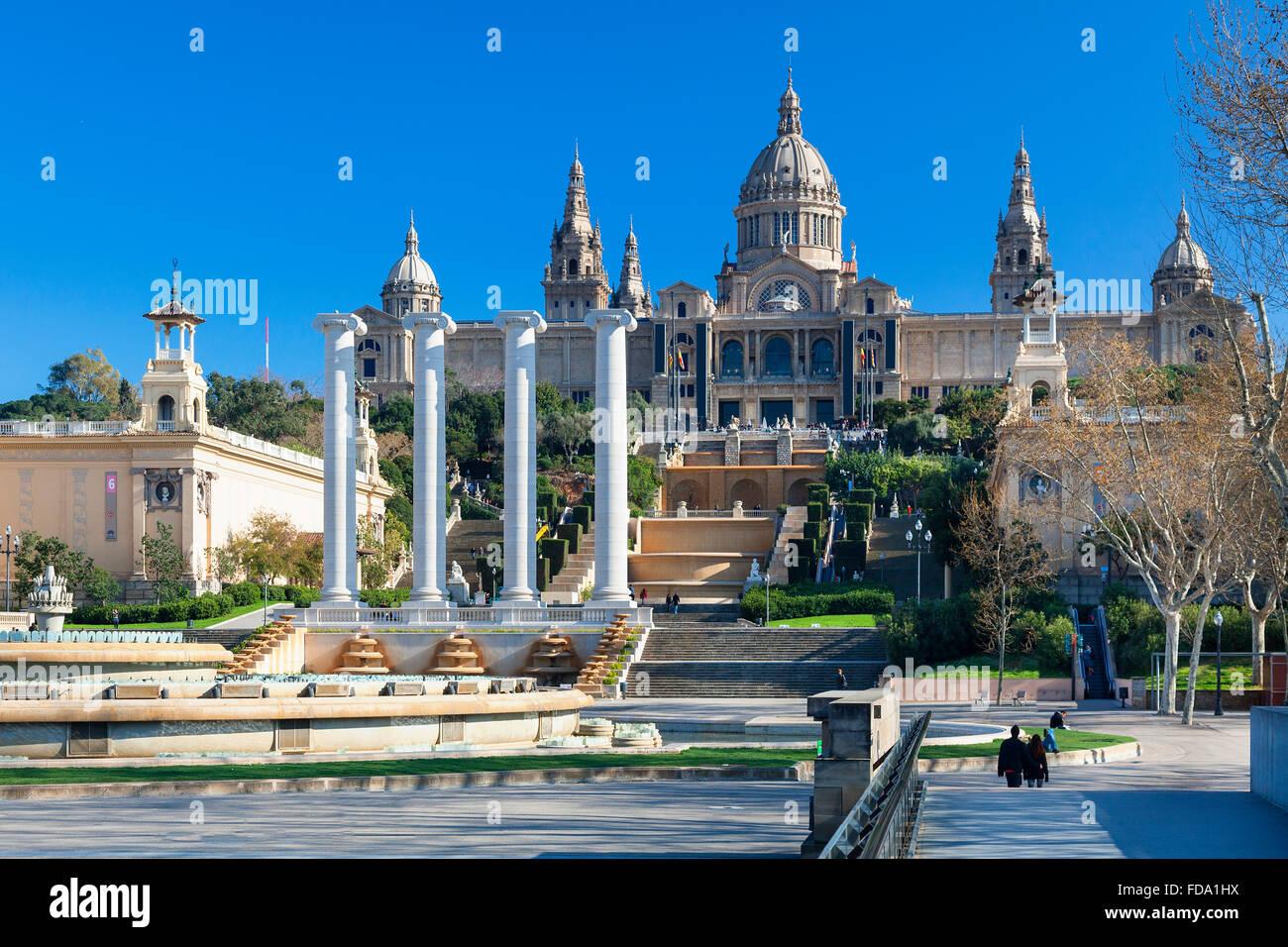 España, Cataluña, Barcelona, Montjuic, Museo Nacional de Arte de Cataluña (MNAC), el Palacio Nacional Imagen De Stock
