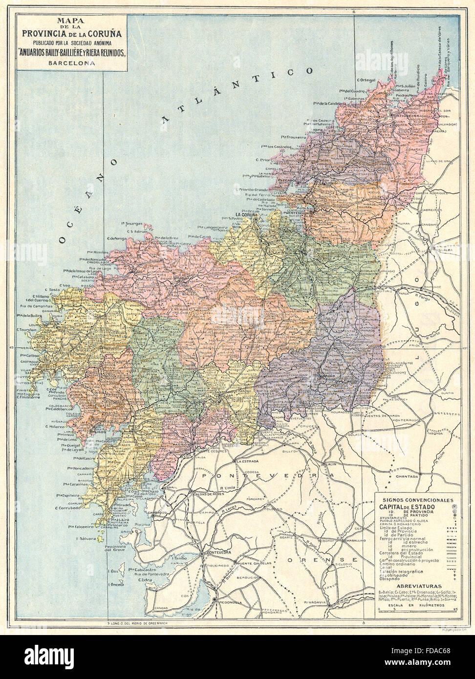 Espana Mapa De La Provincia De La Coruna 1913 Foto Imagen De