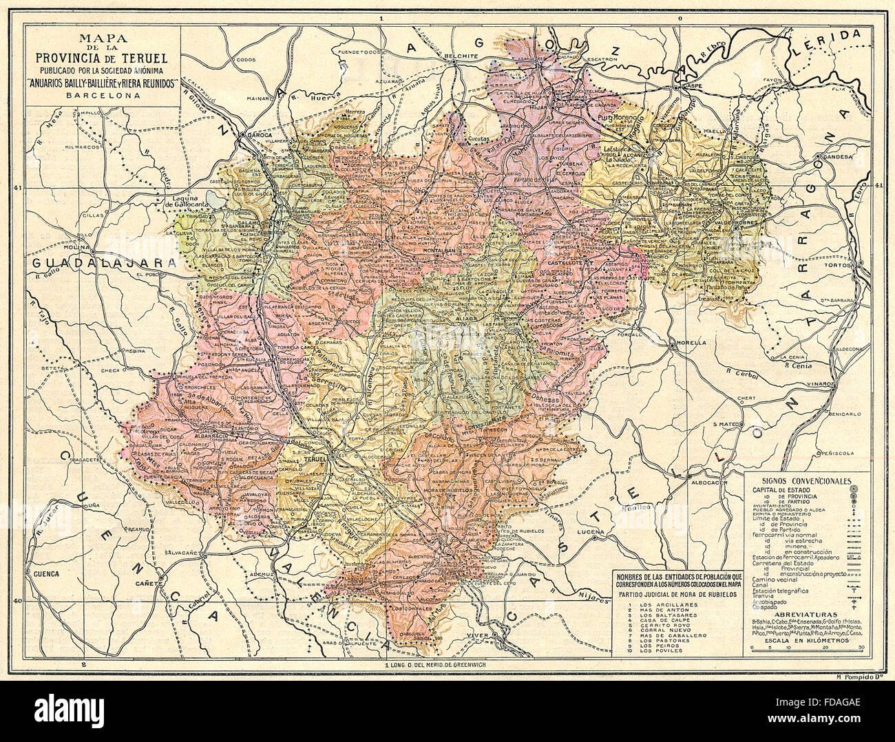 Mapa De Teruel Aragon Espana