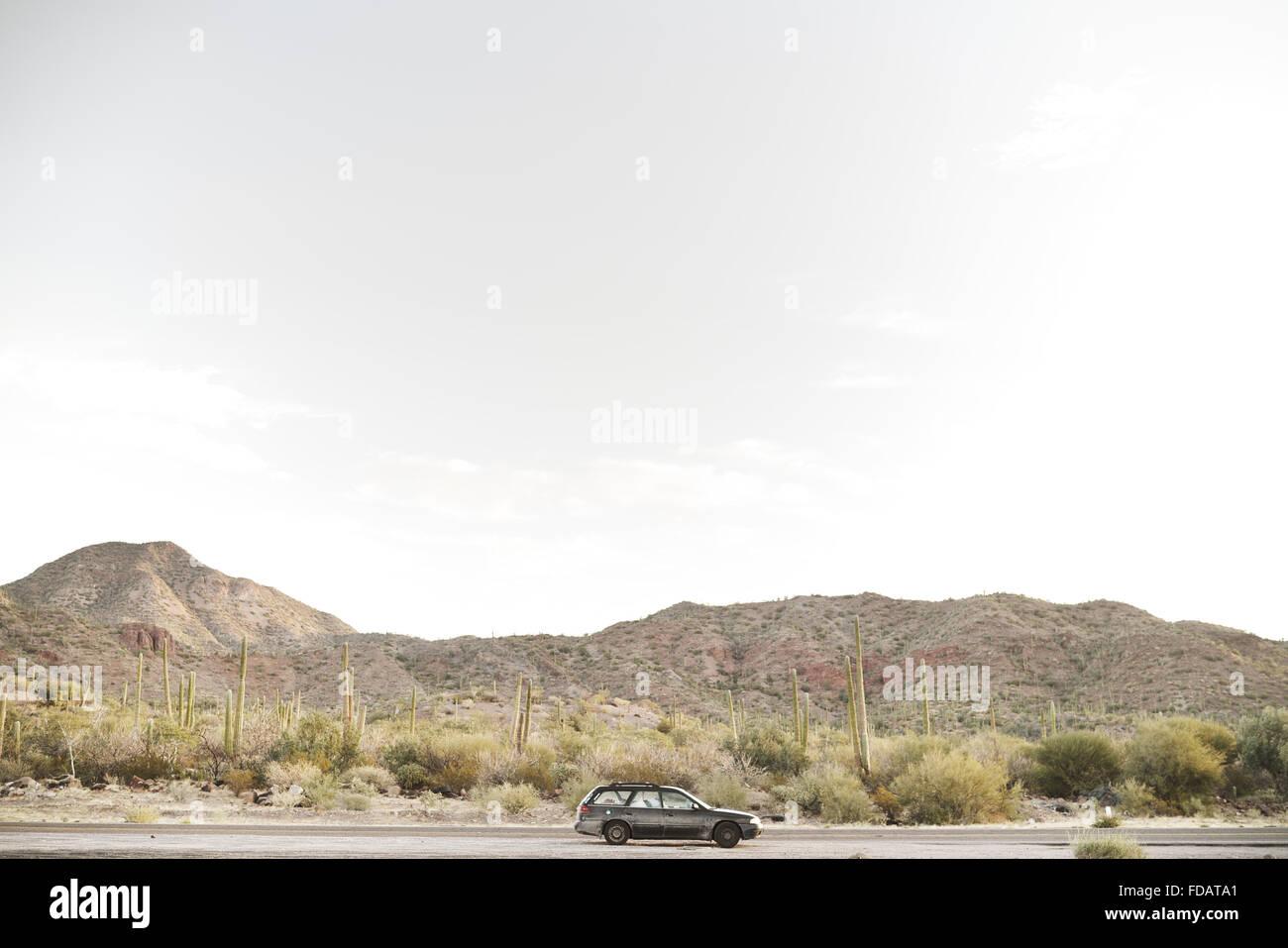 Subaru en un viaje por el desierto de Baja California de México Imagen De Stock