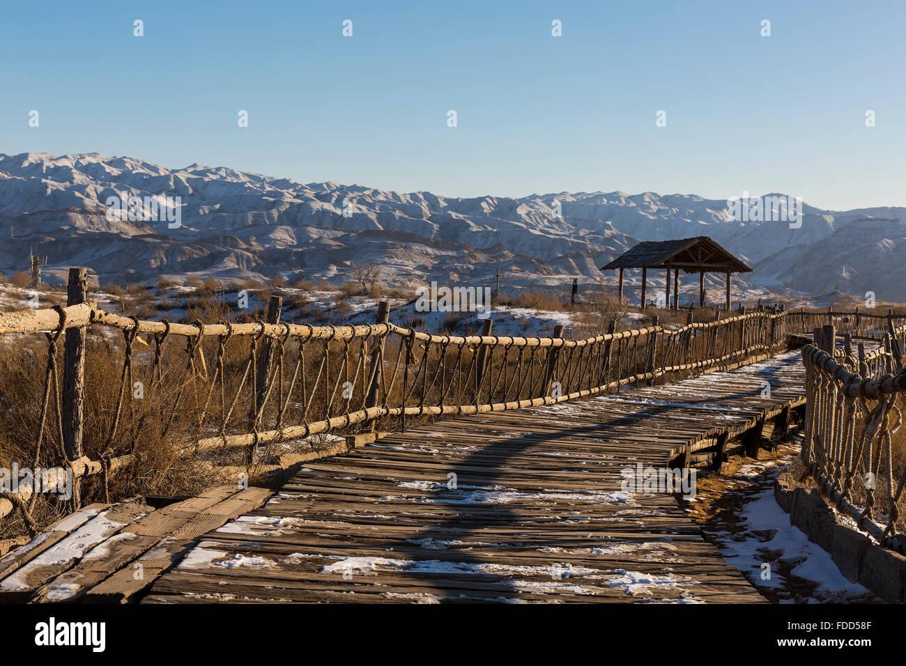 Ruta de senderismo en el Parque Nacional - Shapotou Ningxia, China Foto de stock