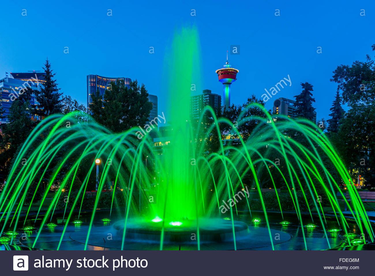 Fuente luminosa, Centro Memorial Park, Calgary, Alberta, Canadá Imagen De Stock