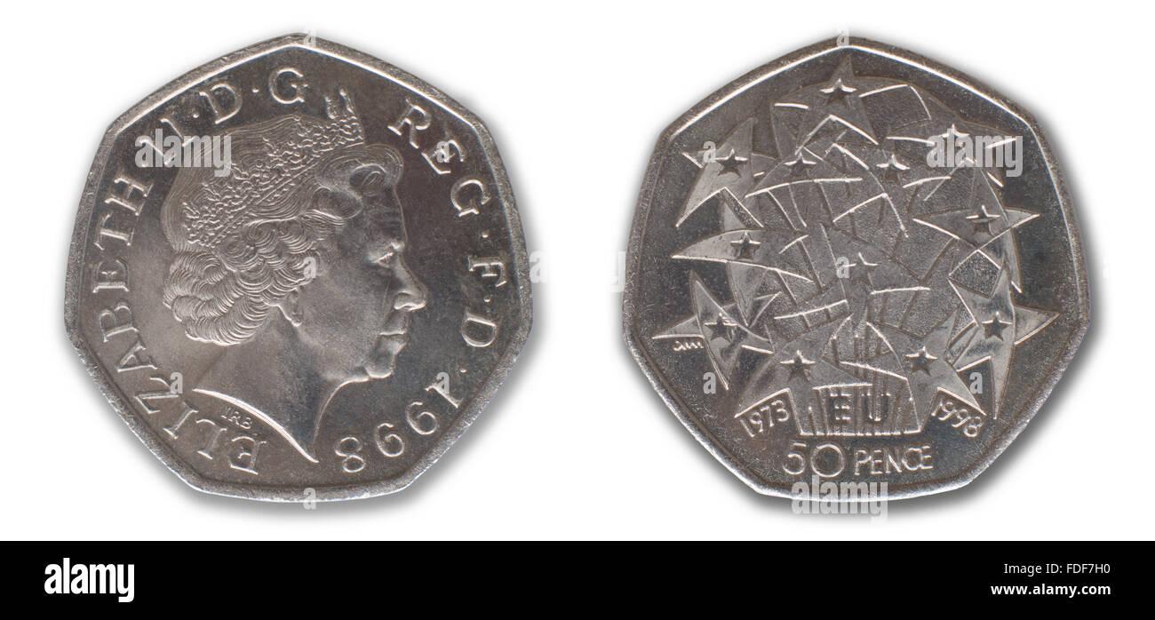 Cincuenta peniques pieza conmemorativa 25 Aniversario de UK la pertenencia a la UE 1973 - 1998 Imagen De Stock