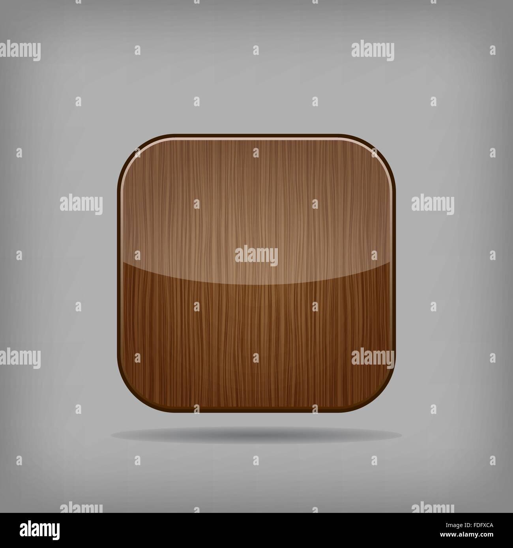 Vector de madera brillante app button Imagen De Stock