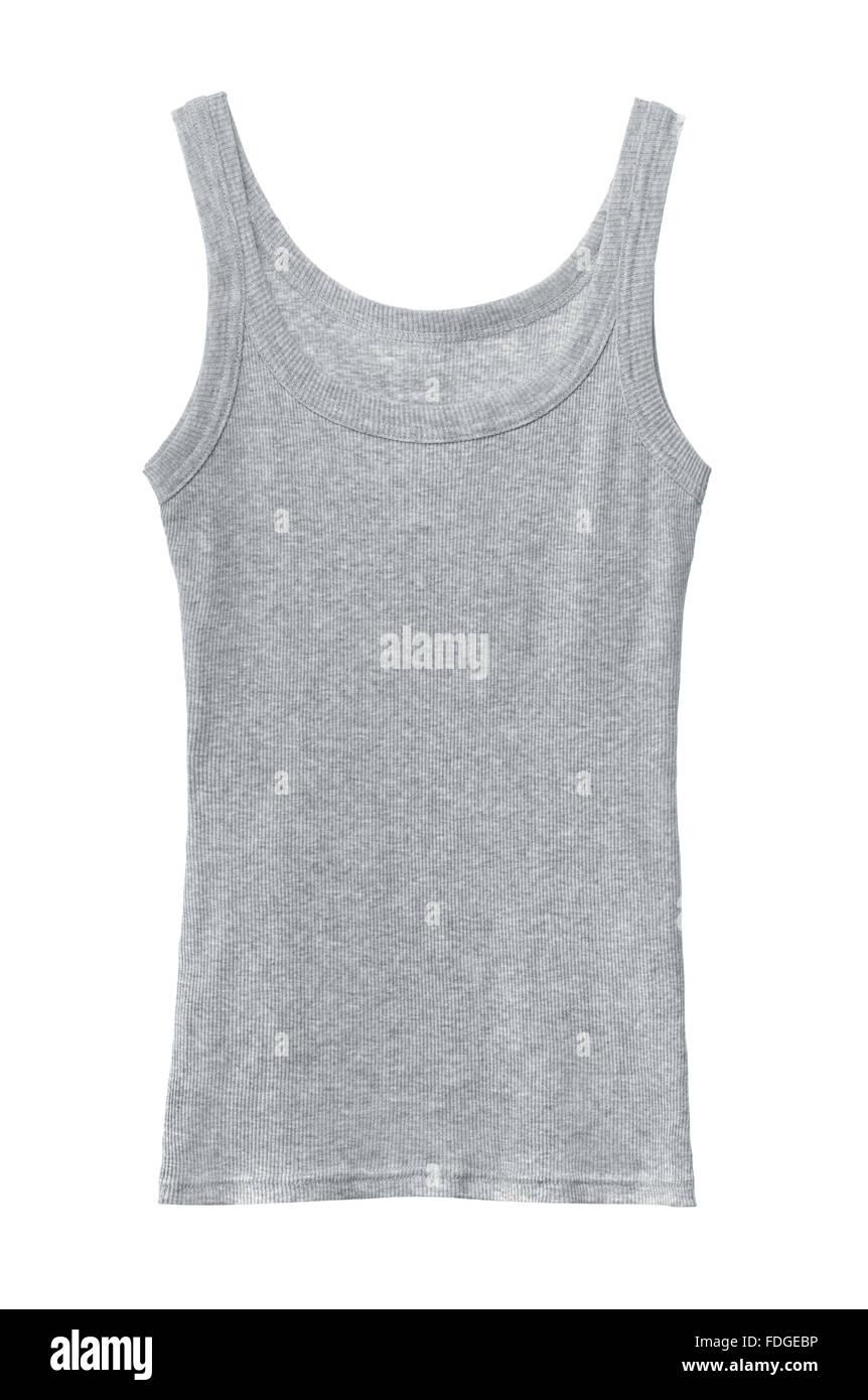Camiseta sin mangas de algodón gris aislado en blanco Imagen De Stock