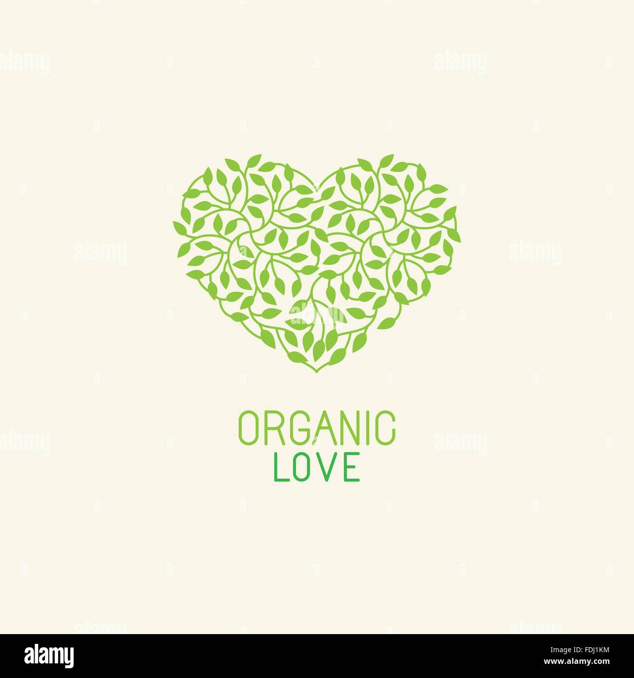 Naturales y Orgánicos de la plantilla de diseño de logotipos y emblemas - ecología verde concepto o cosmética natural Foto de stock