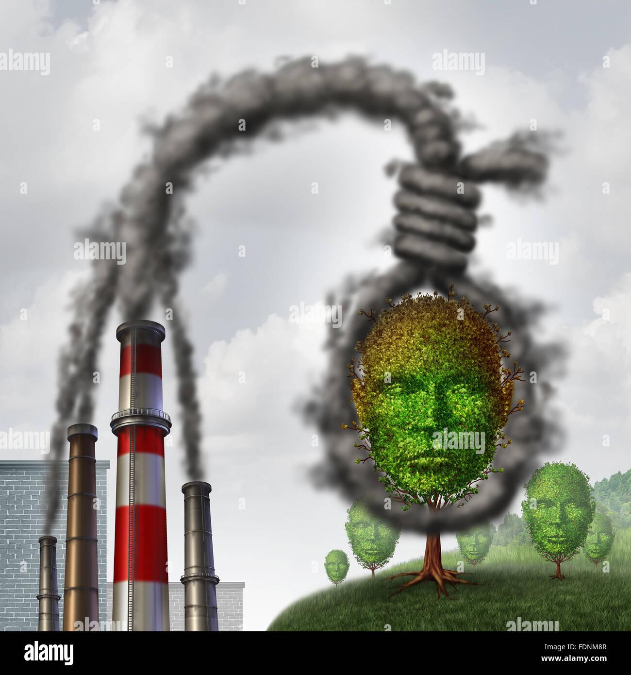 Concepto de suicidio ambiental como sucia contaminación industrial formado como una soga soga asfixia un árbol Imagen De Stock