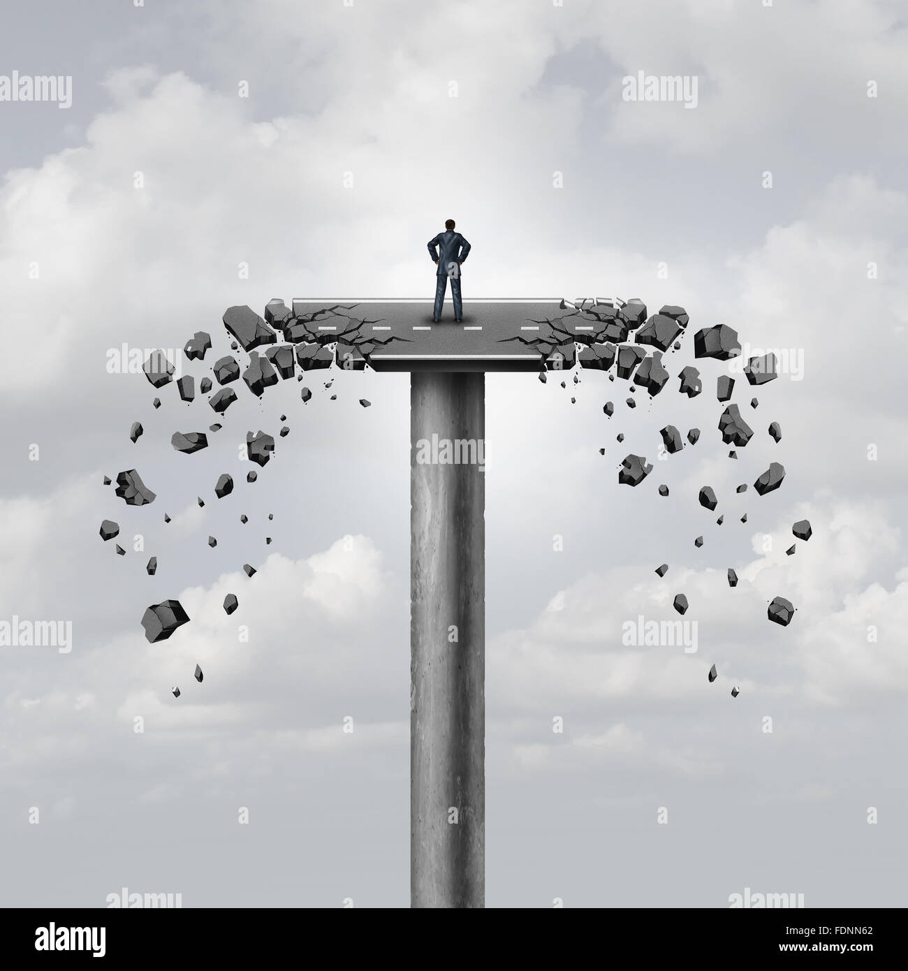 Se ha perdido la conexión o concepto empresarial y romper los lazos como una carretera sobre un puente roto Imagen De Stock