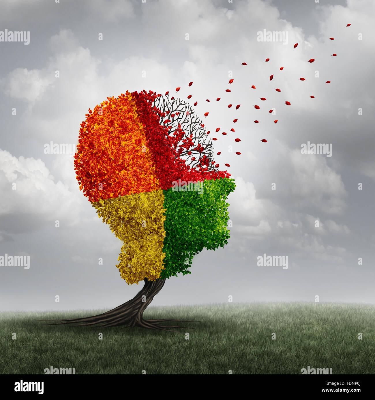 Demencia pérdida cerebral problema de memoria y el envejecimiento debido a enfermedad y cognitivos de la enfermedad Imagen De Stock