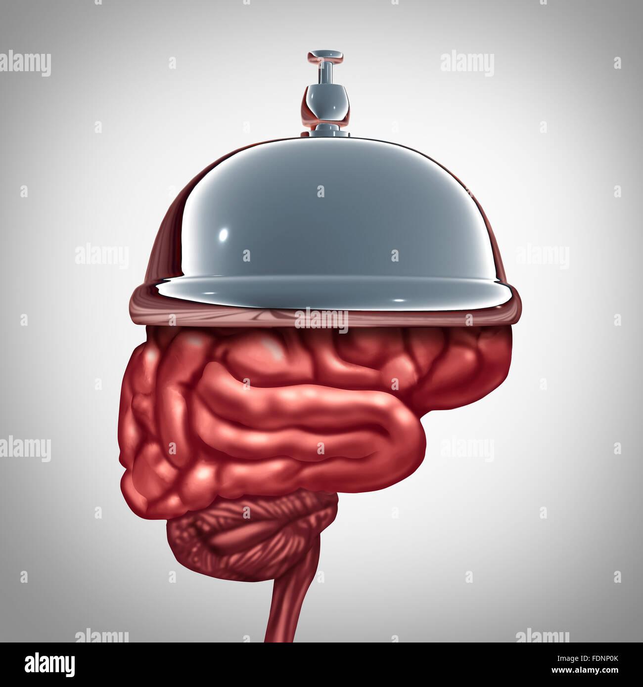 Los servicios de educación y servicios de salud mental o ayuda inteligente concepto como un hotel bell en un Imagen De Stock