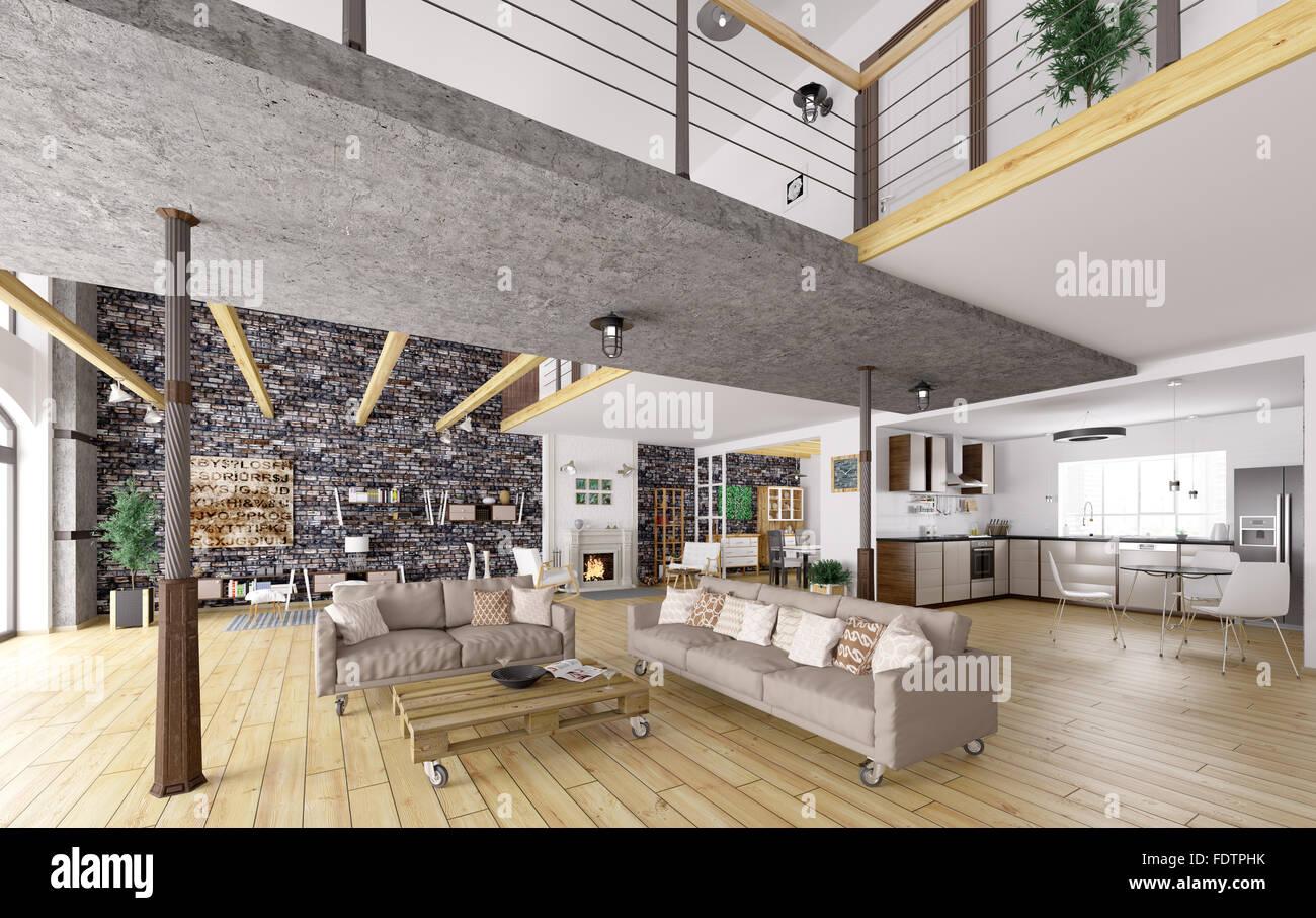 Apartamento Loft interior, comedor, salón, cocina 3D ...