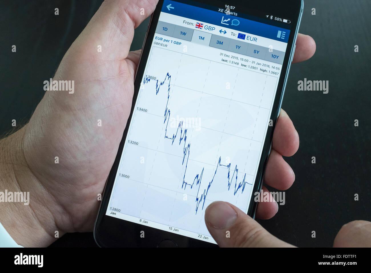 Gráfico que muestra el tipo de cambio del euro y la libra esterlina en XE Tasas de intercambio de moneda app en Foto de stock