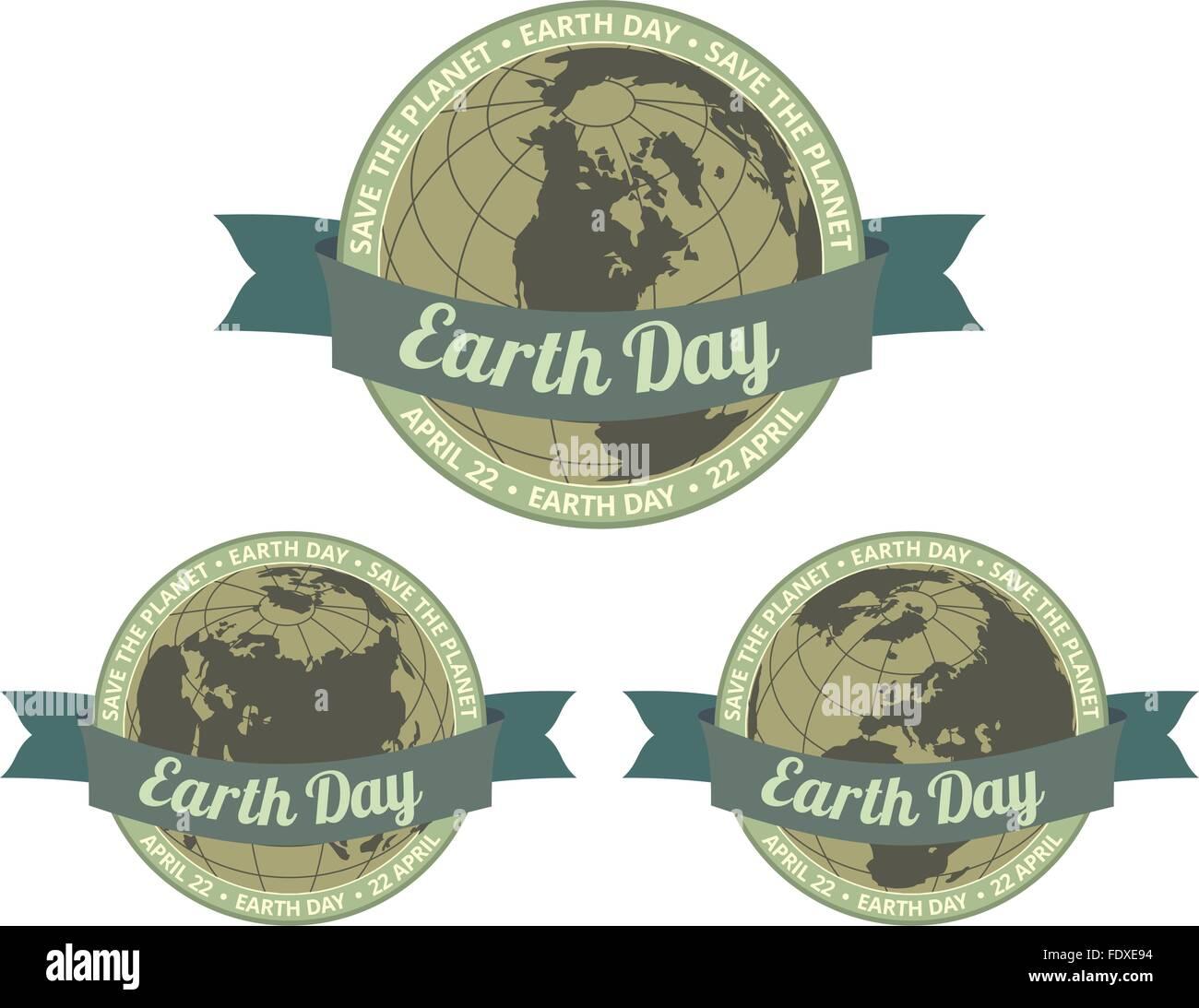 Conjunto de globos con el día de la tierra escrito en el viejo estilo de banner y salvar el planeta lema alrededor. Imagen De Stock