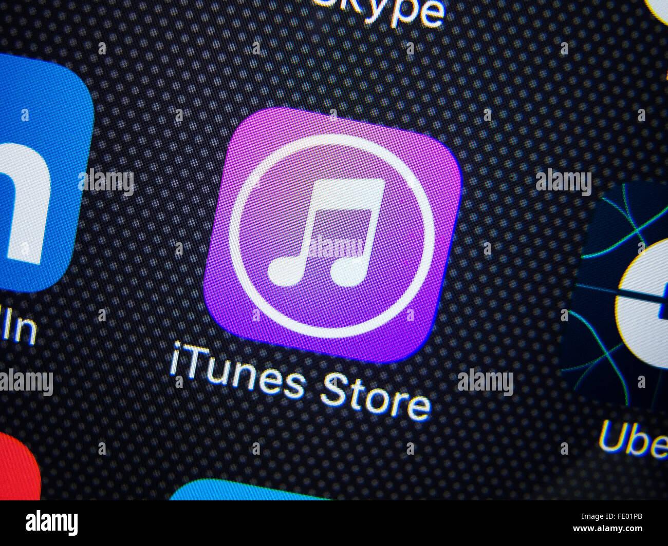 Detalle de la tienda iTunes App icono en el iPhone Imagen De Stock