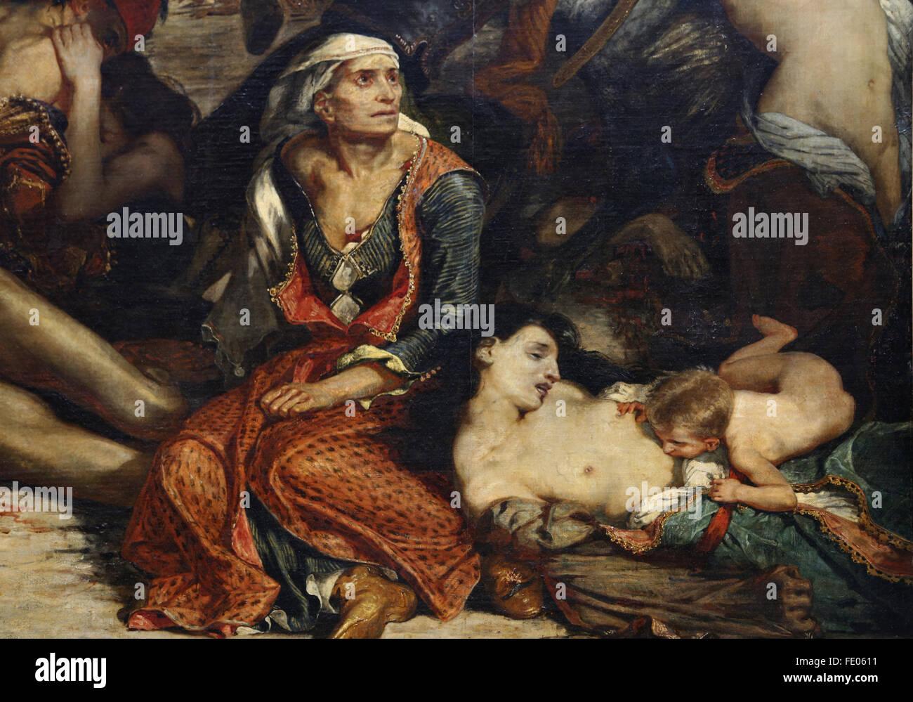 La masacre de Quíos (1822), el 11 de abril de 1824 por el pintor francés Eugène Delacroix (1798-1863). Guerra de Independencia griega. Foto de stock