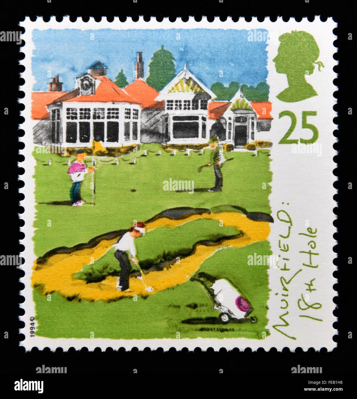 Sello de correos. Gran Bretaña. La reina Isabel II. 1994. Campos de Golf de Escocia. 25p. Foto de stock