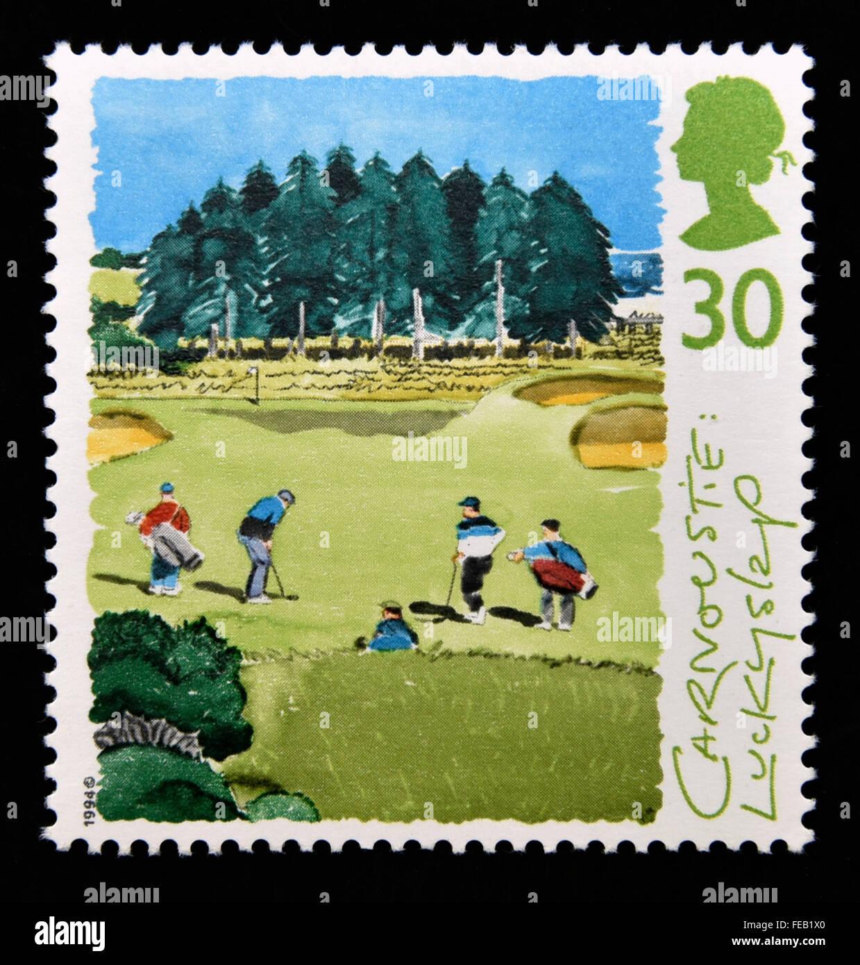 Sello de correos. Gran Bretaña. La reina Isabel II. 1994. Campos de Golf de Escocia. 30p. Foto de stock