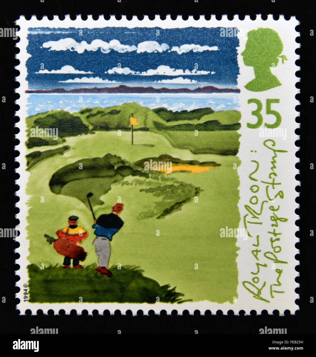 Sello de correos. Gran Bretaña. La reina Isabel II. 1994. Campos de Golf de Escocia. 35p. Foto de stock